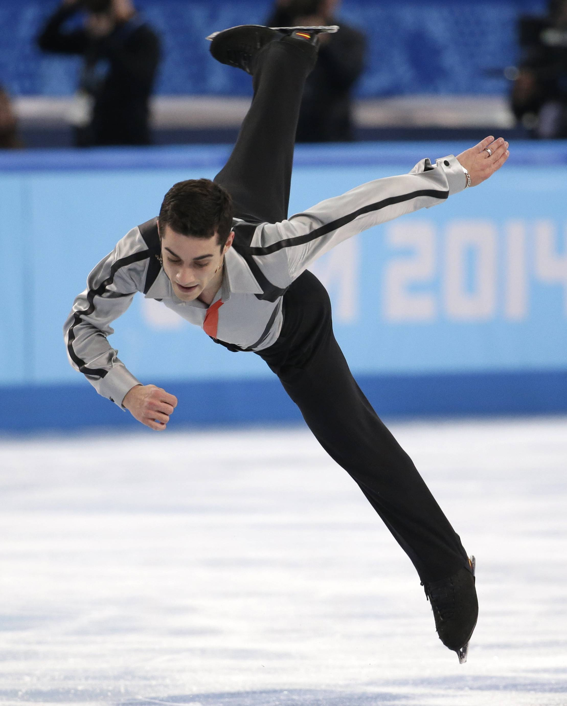 Javier Fernandez of Spain competes in the men's free skate figure skating final.