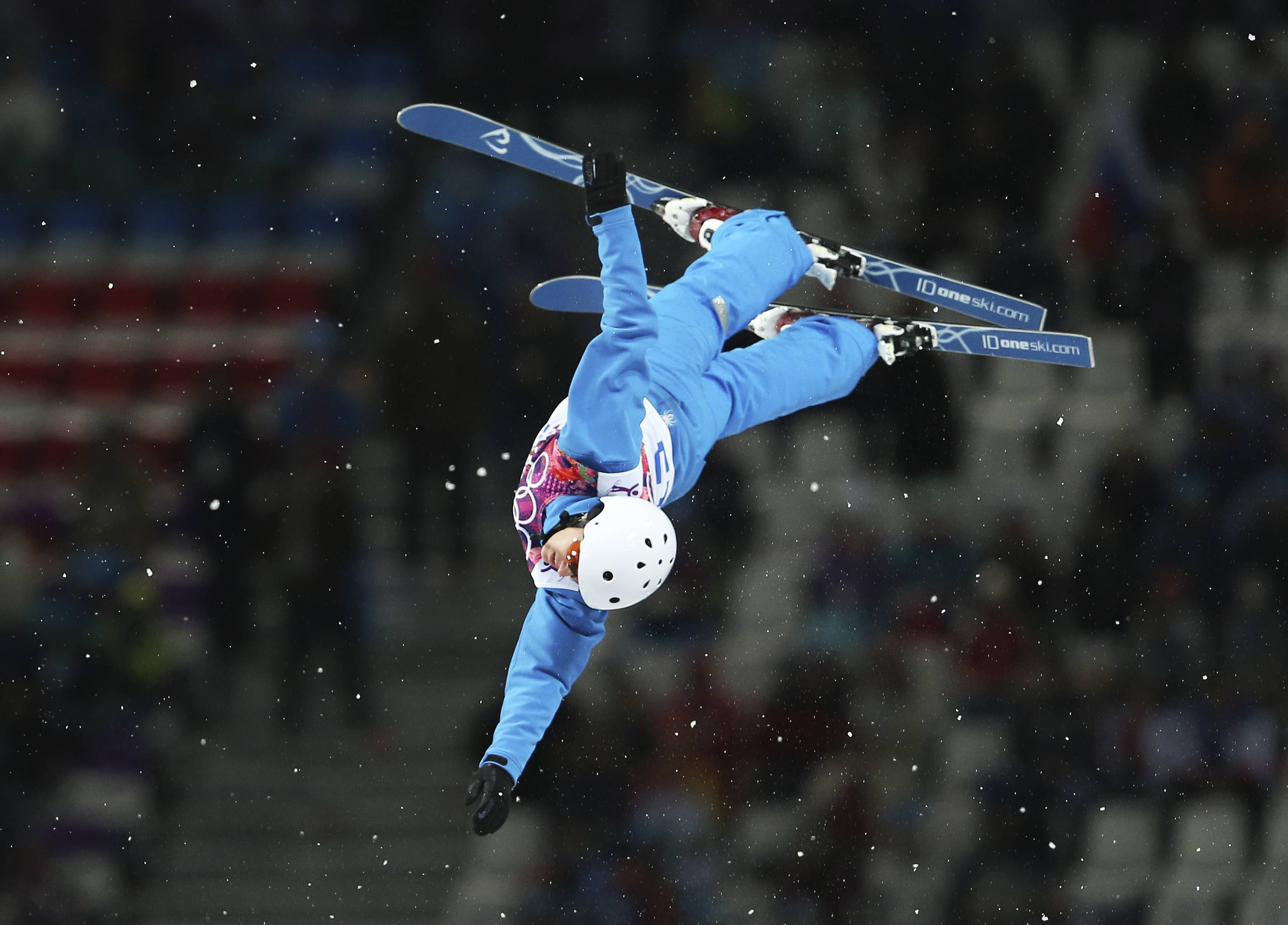 Alla Tsuper of Belarus makes her last jump in the women's freestyle skiing aerials final.