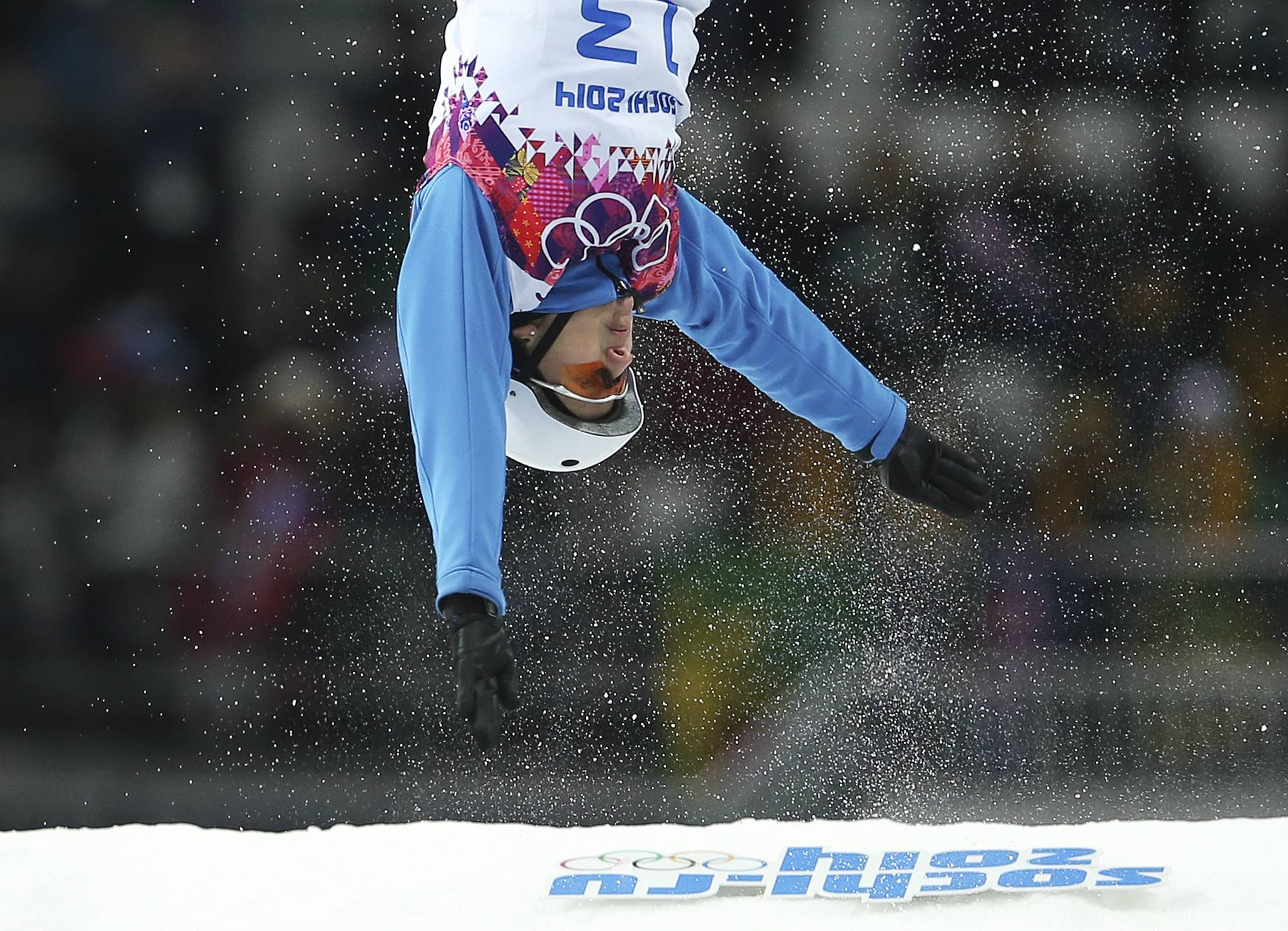 Alla Tsuper of Belarus makes her gold medal-winning jump in the women's freestyle skiing aerials final.