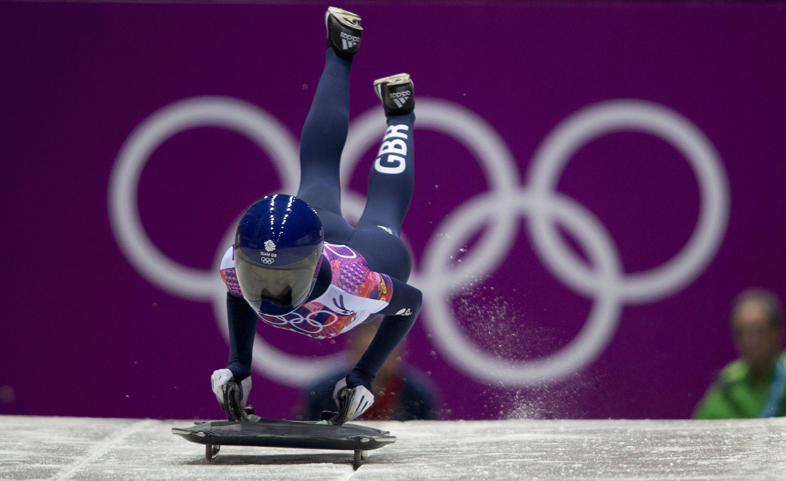 Shelley Rudman of Great Britain starts her run during the women's skeleton competition.
