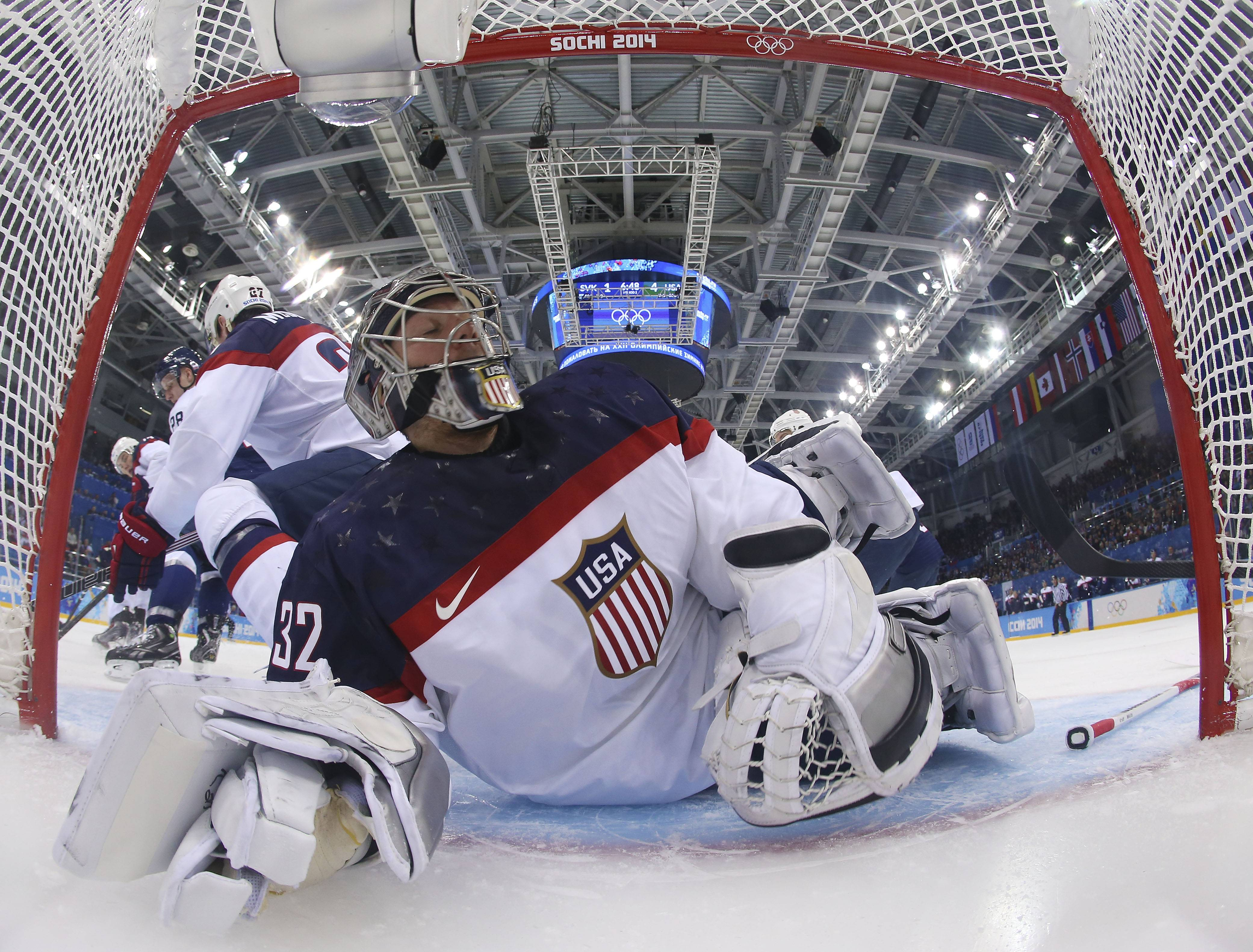 Goalie Jonathan Quick will make his second start of the Olympics when the U.S. men's hockey team faces host Russia on Saturday.