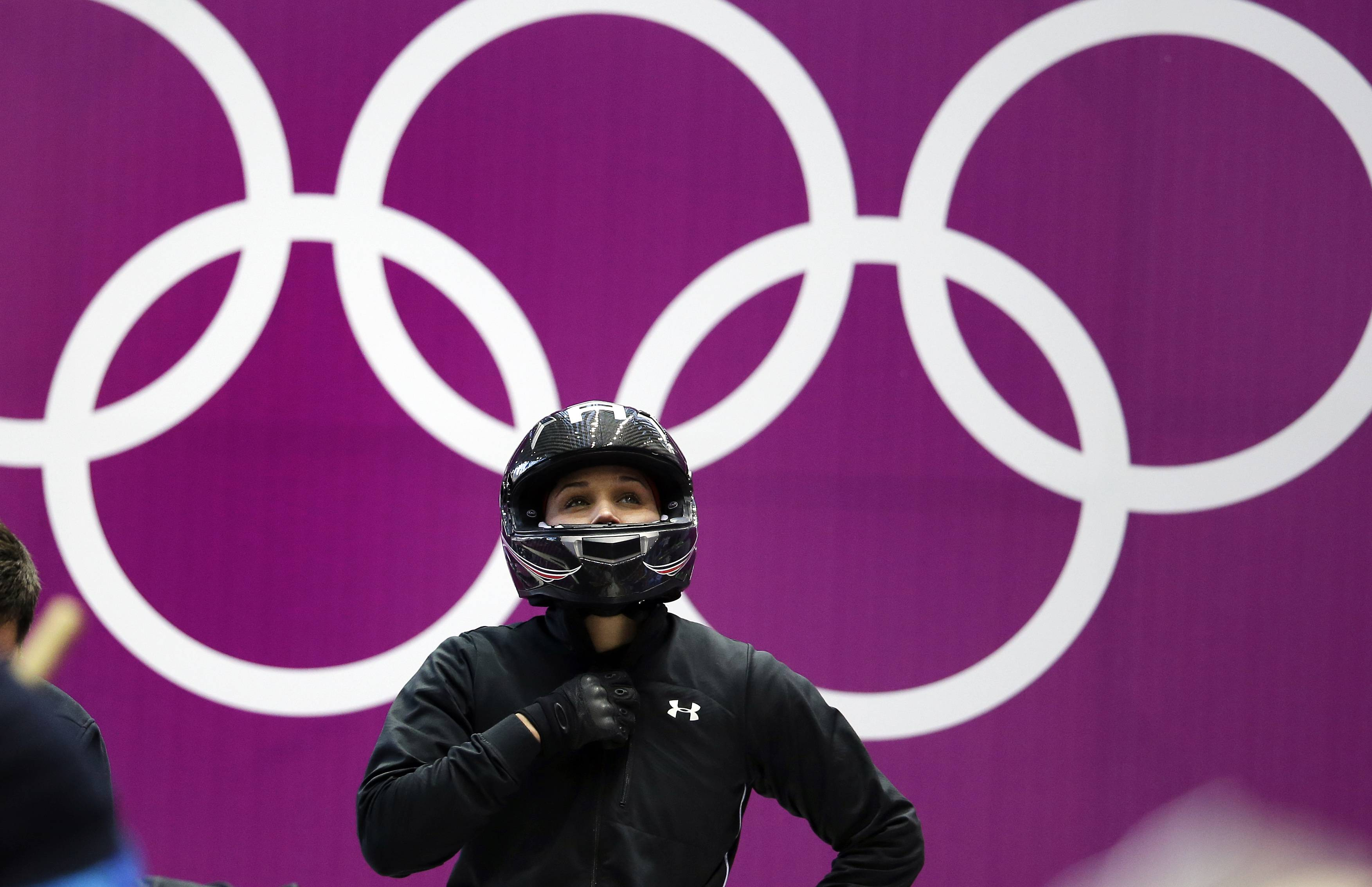 Lolo Jones prepares for a heat race Friday during the women's bobsled competition at the 2014 Winter Olympics in Krasnaya Polyana, Russia.