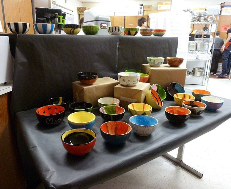 Students in the ceramic arts class made bowls for the Palatine High School Empty Bowls Project fundraiser.