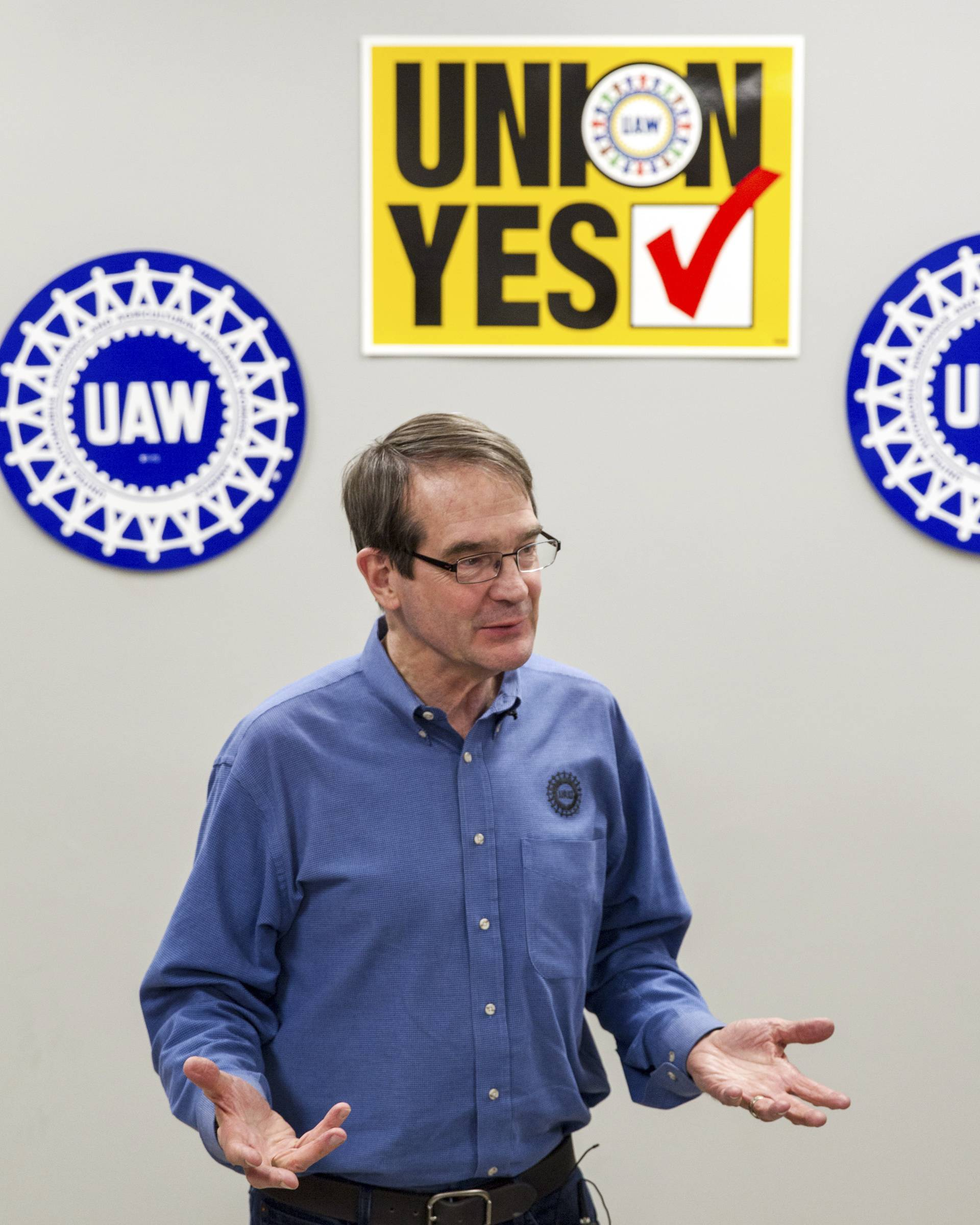 United Auto Workers President Bob King speaks to the media Friday after workers at a Volkswagen factory voted against union representation in Chattanooga, Tenn.