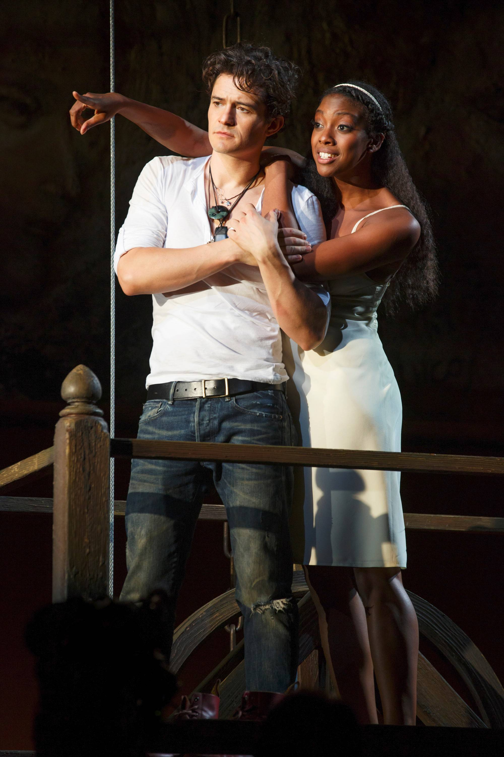 "Orlando Bloom and Condola Rashad starred as the title lovers of Shakespeare's ""Romeo and Juliet."" The 2013 Broadway production is shown in select movie theaters on Friday, Feb. 14, and Sunday, Feb. 16."