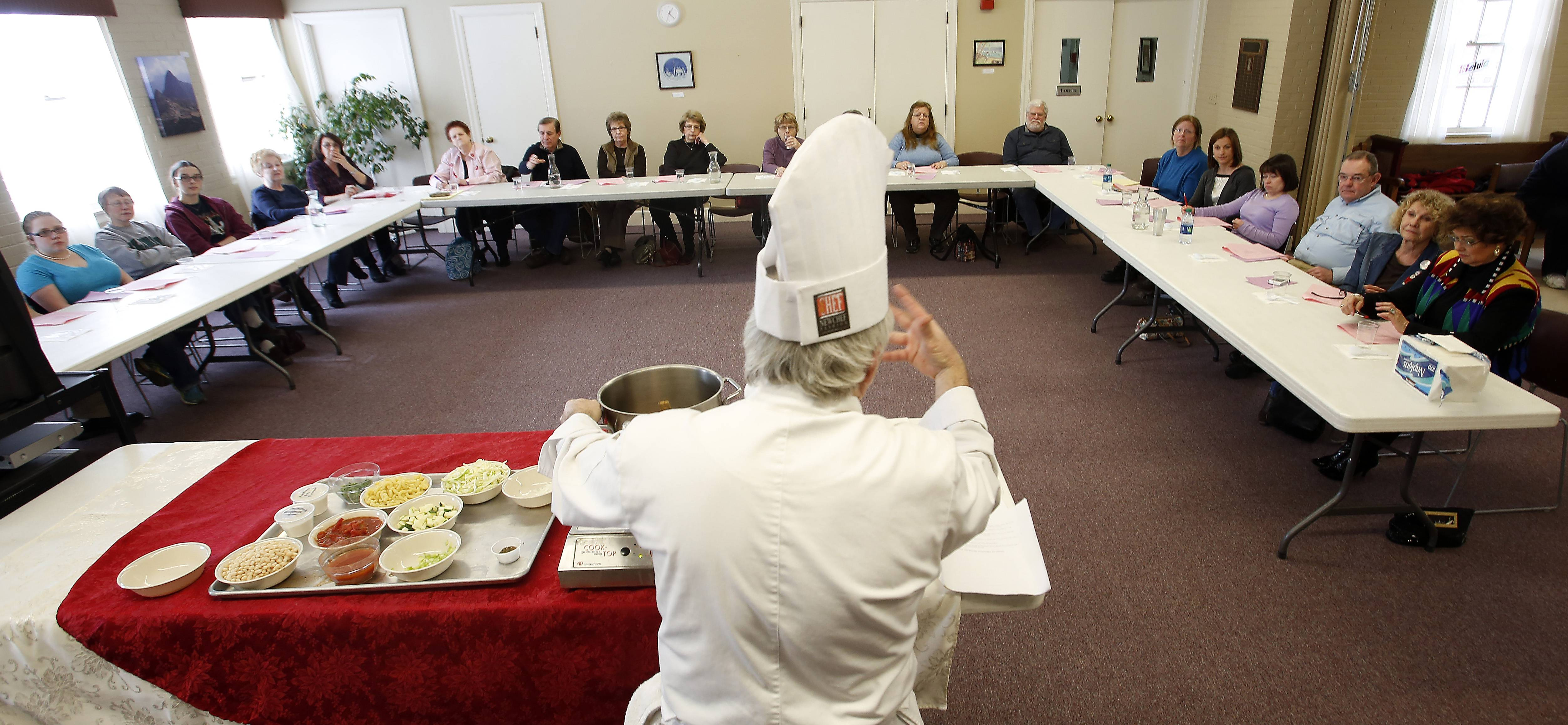 Chef Mike Zema of the St. Charles Episcopal Church teaches a cooking class Saturday on Soul Warming Soups.