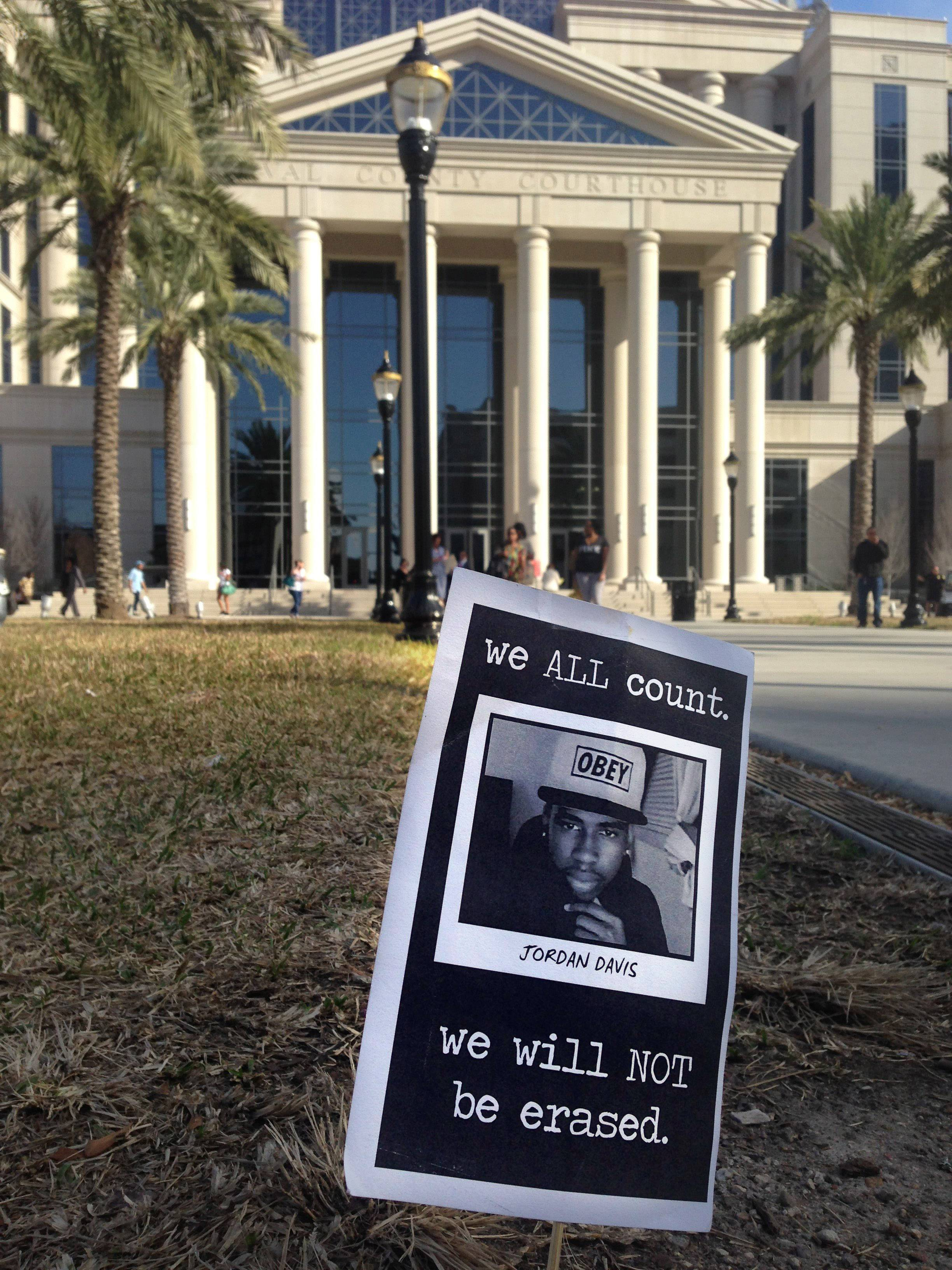 A small memorial to Jordan Davis planted outside the courthouse in Jacksonville, Fla. After more than 30 hours of jury deliberations over four days, a mistrial was declared Saturday on the murder charge that Michael Dunn faced in the fatal shooting Davis.