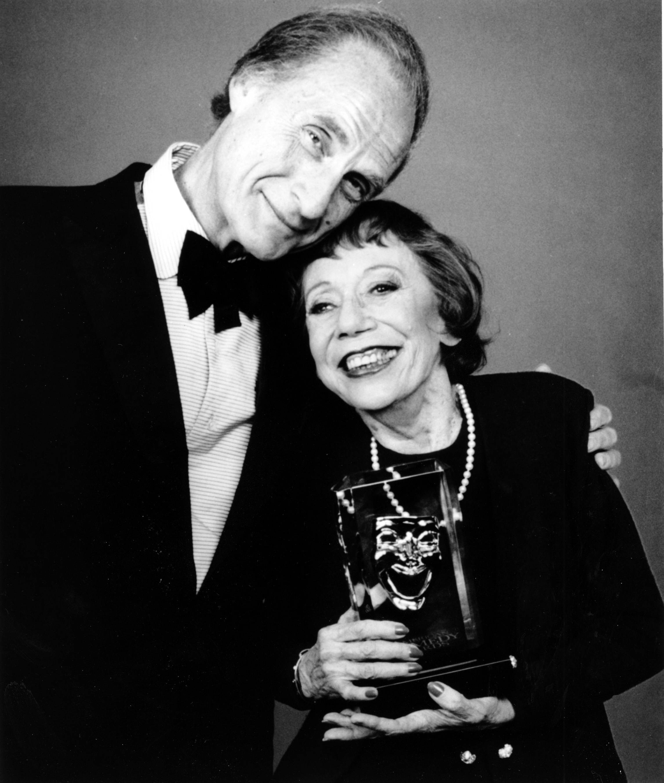 Imogene Coca, right, and Sid Caesar after Coca won the female Life Achievement in Comedy award at the American Comedy Awards in Los Angeles.