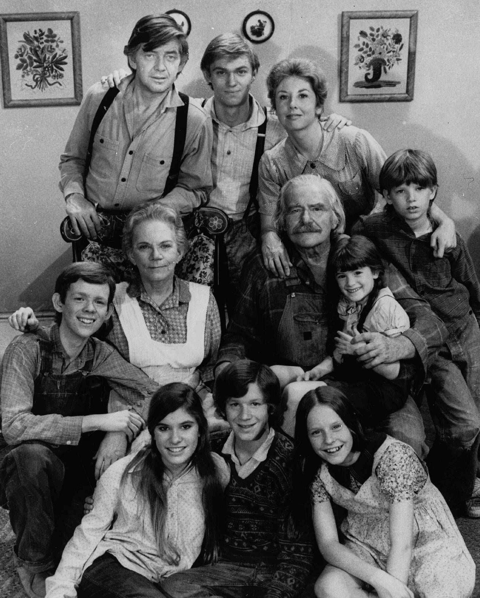 """The Waltons"" cast, including Ralph Waite, top row, left, Richard Thomas, top row, center, and Michael Learned, top row, right."