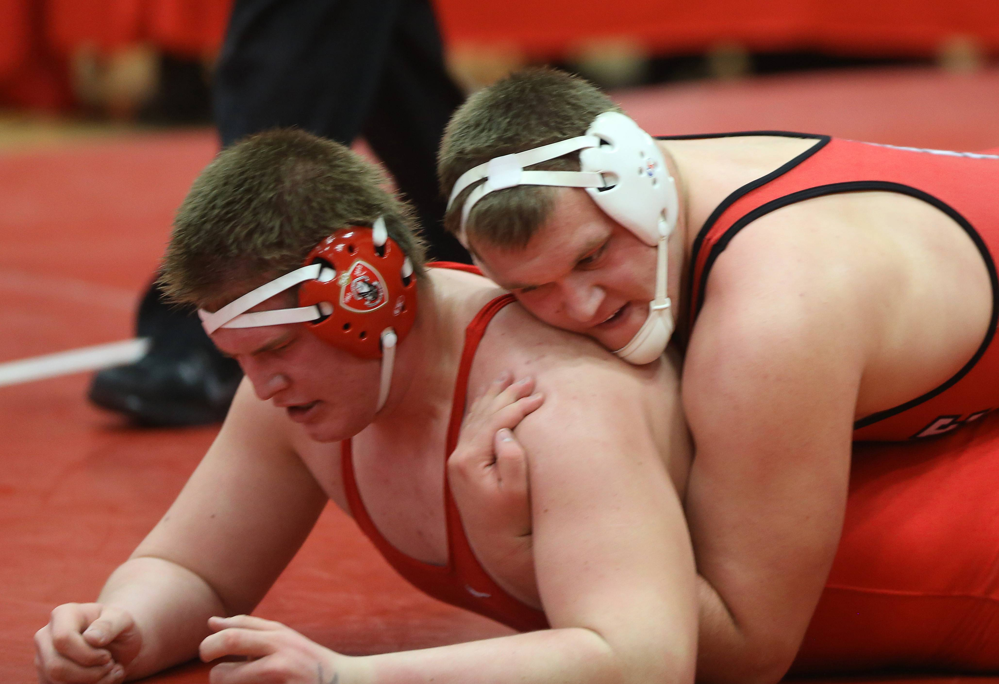 Hinsdale Central's Brian Allen defeats Marist's Jake Ford in the 285 pound class of the 3A Hinsdale Central individual wrestling sectional semifinals.