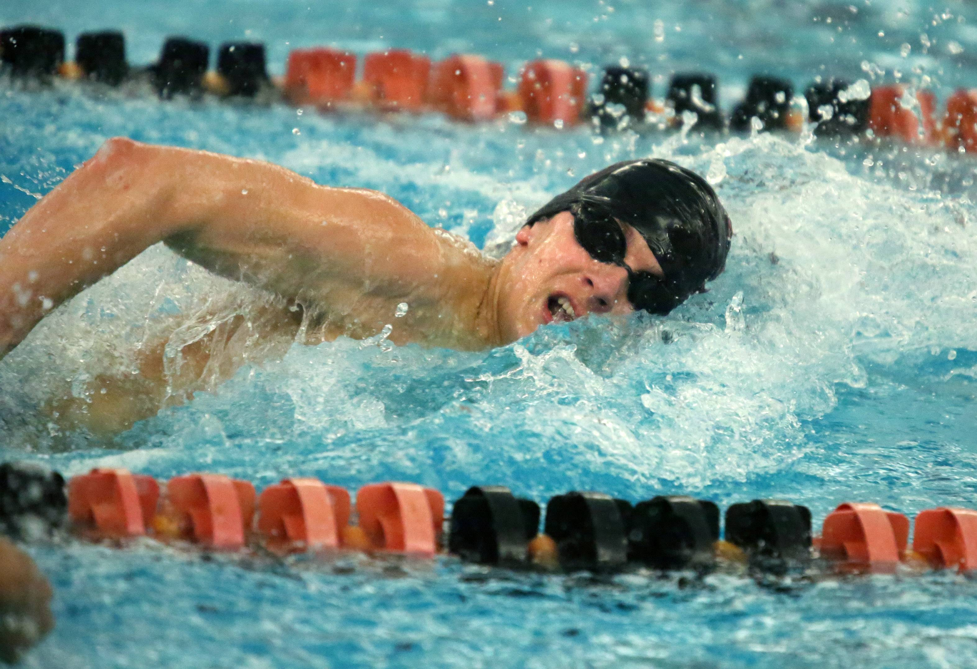 Barrington's Sebastian Piekarski finished first in the 100-yard freestyle in the Mid-Suburban League meet Saturday at Barrington.