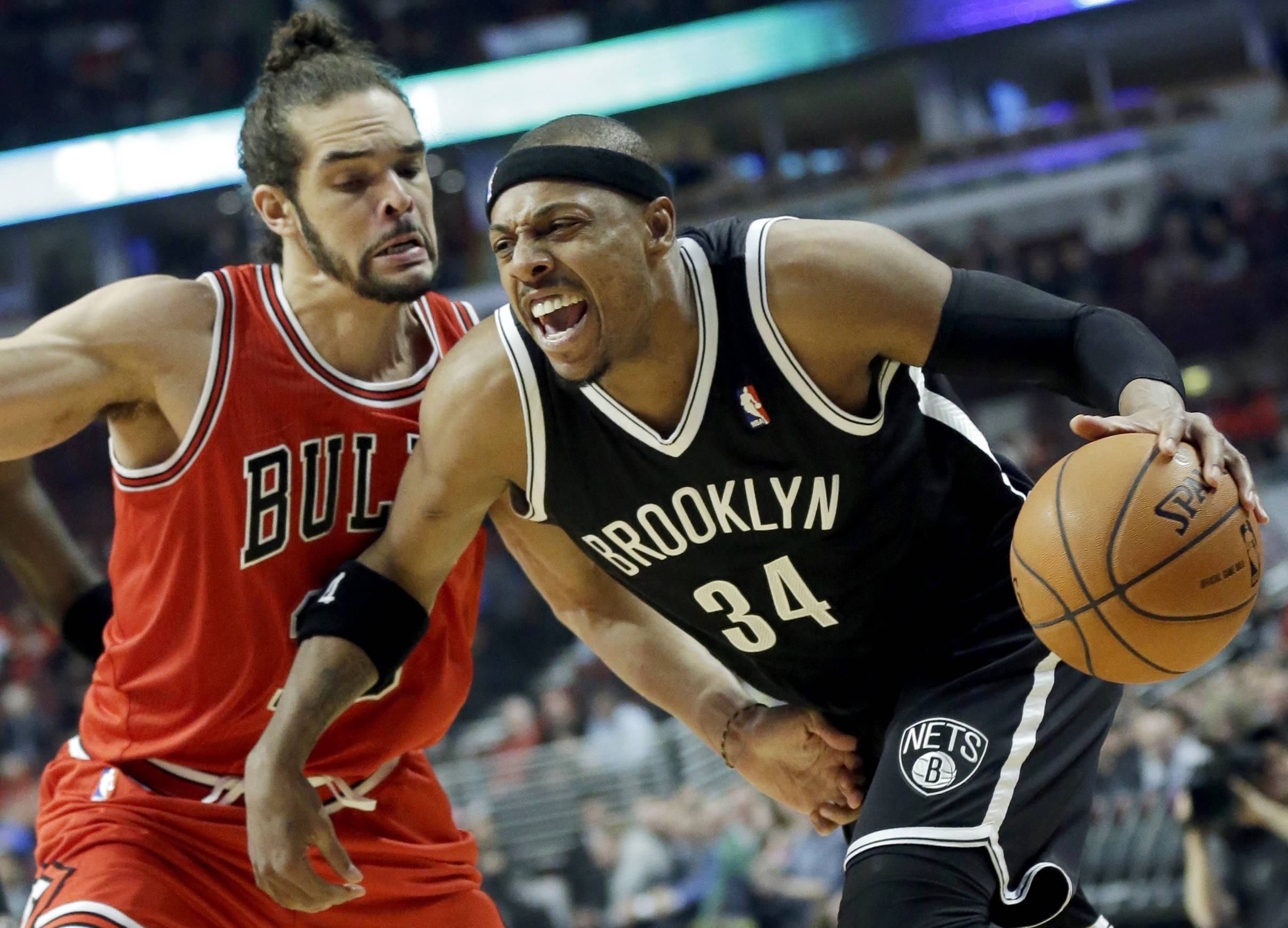 Bulls center Joakim Noah, guarding the Nets' Paul Pierce, is not likely to be in any trade for the Knicks' Carmelo Anthony, if the Bulls even have any interest in Anthony at all.