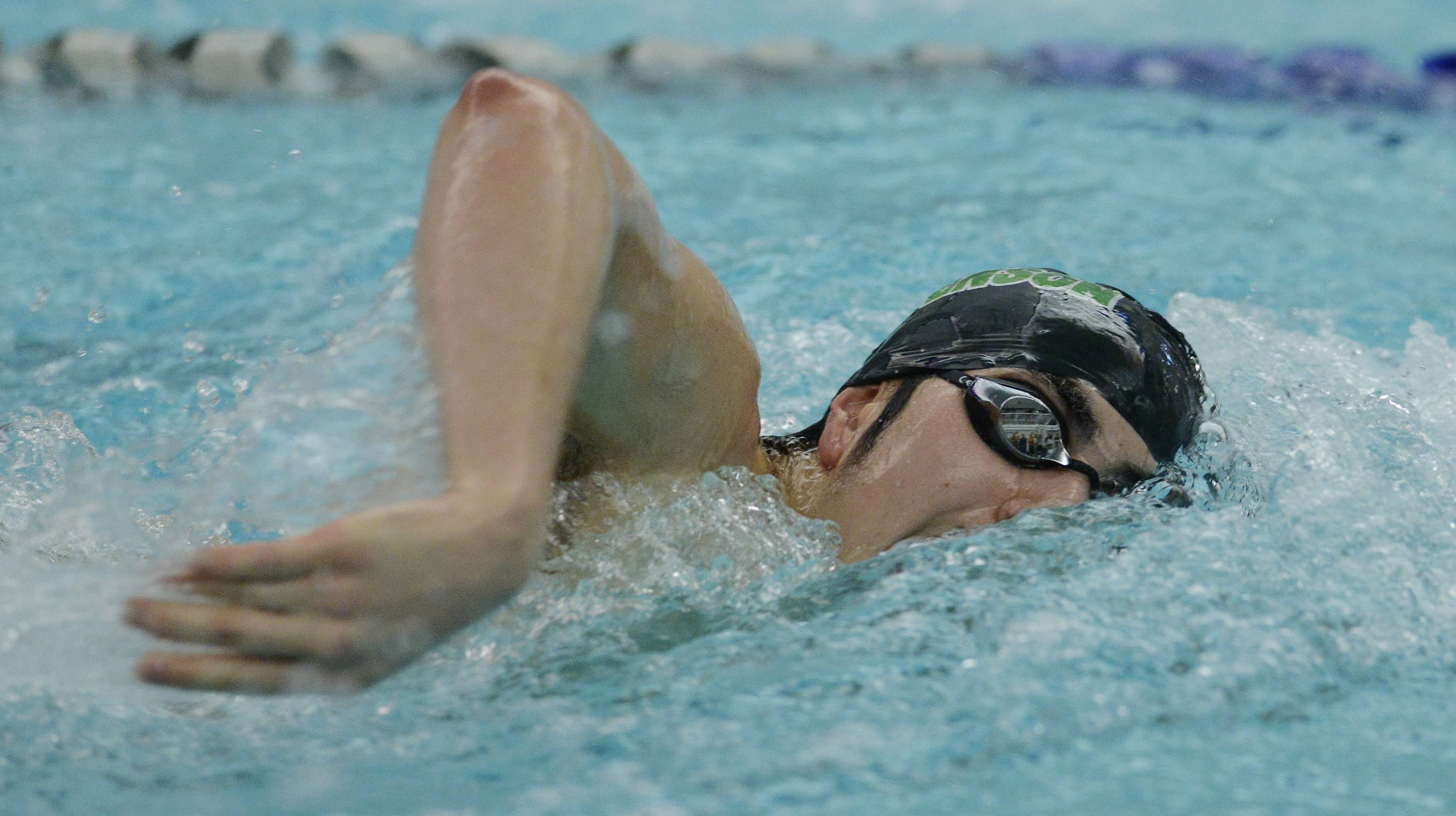 Stevenson's Nick Koto swims the 200-yard freestyle during the North Suburban Conference boys swimming meet at Vernon Hills on Saturday.