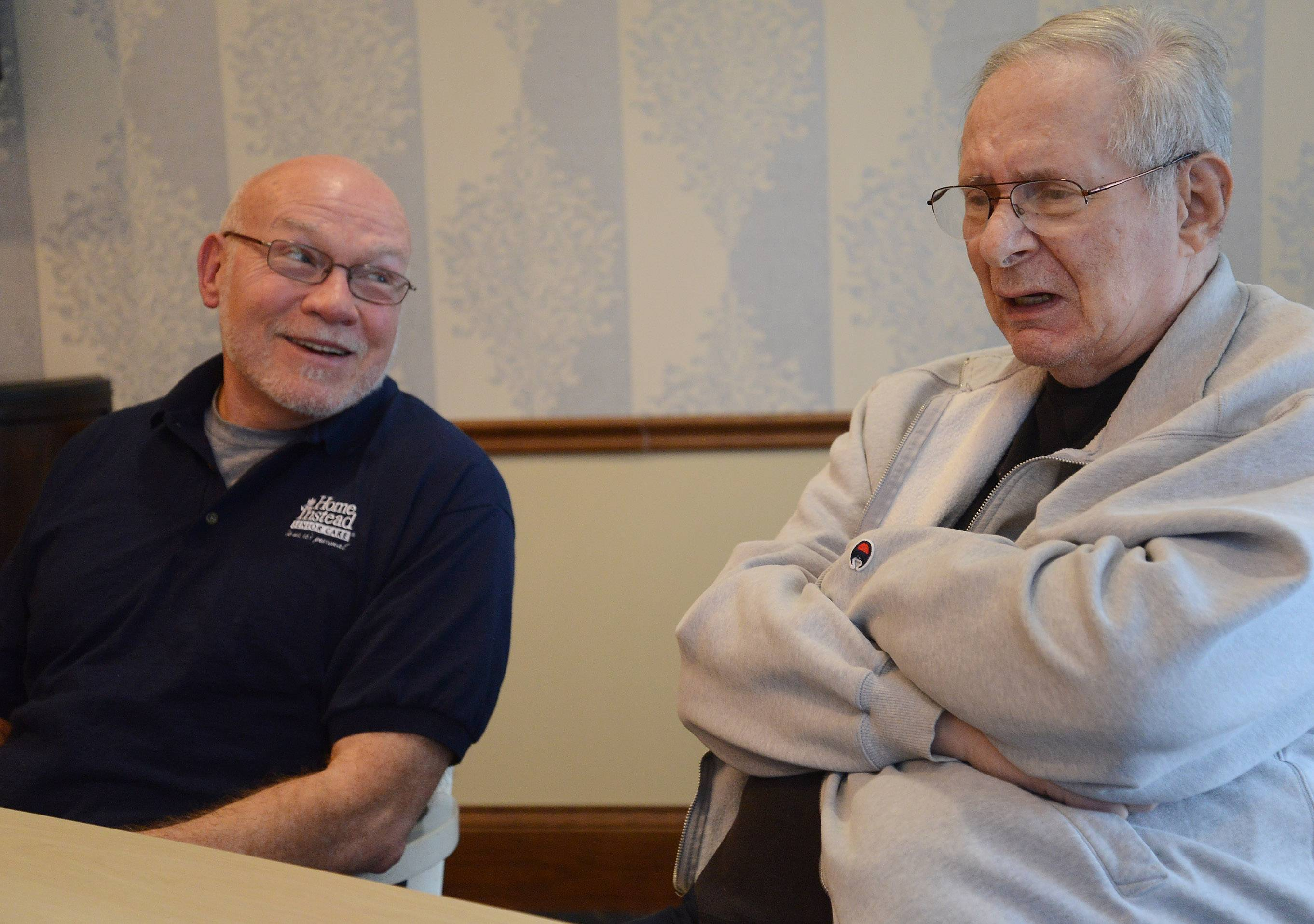 Caregiver Bruce Cruz, left, from Home Instead enjoys the time with his client, Jerry Miller.