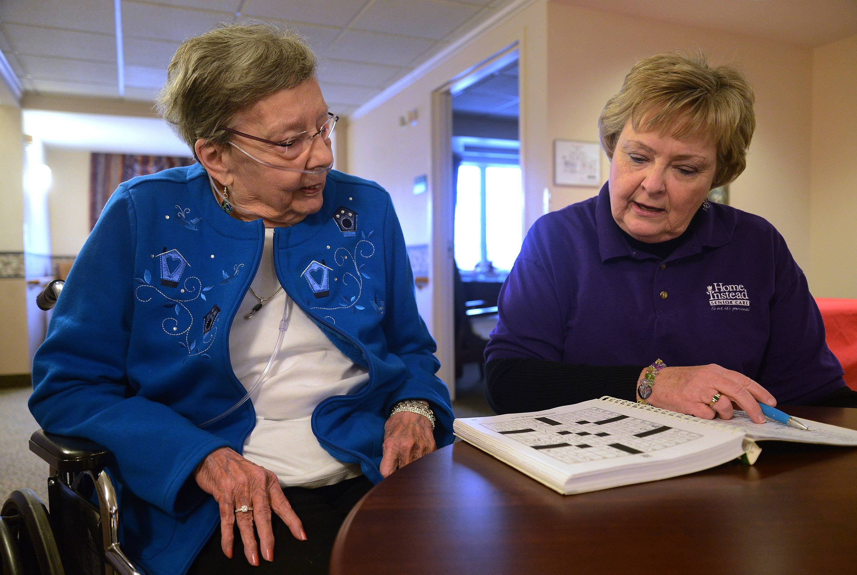 Caregiver Terrie Thompson, right, works with two different clients each week, including Ann Stillwaugh.