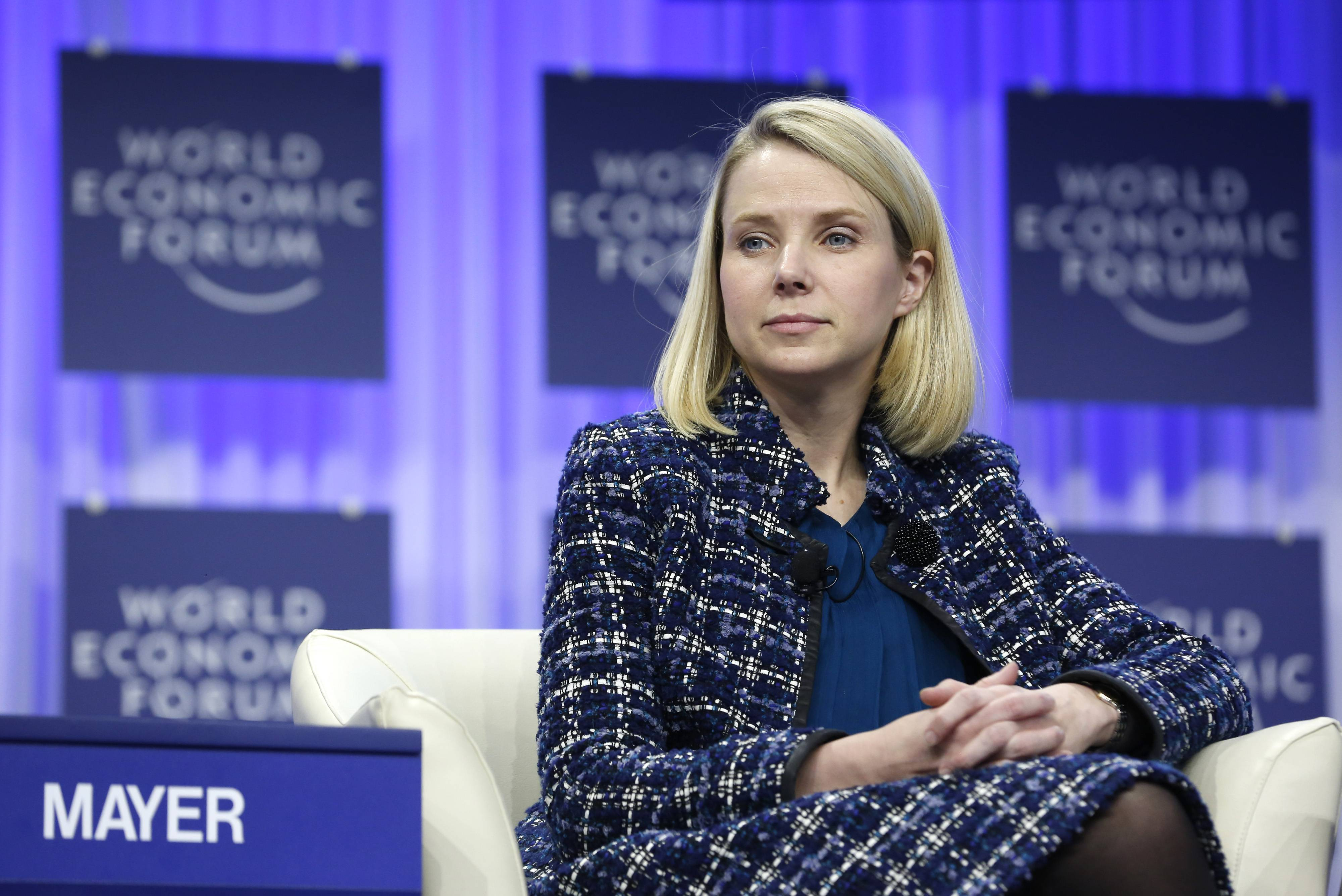 Marissa Mayer, chief executive officer of Yahoo! Inc., pauses during a panel session on day four of the World Economic Forum (WEF) in Davos, Switzerland, on Saturday, Jan. 25, 2014. A report released the week by the Center for Talent Innovation finds that U.S. women working in tech fields are 45 percent more likely than their male peers to leave the industry within a year.