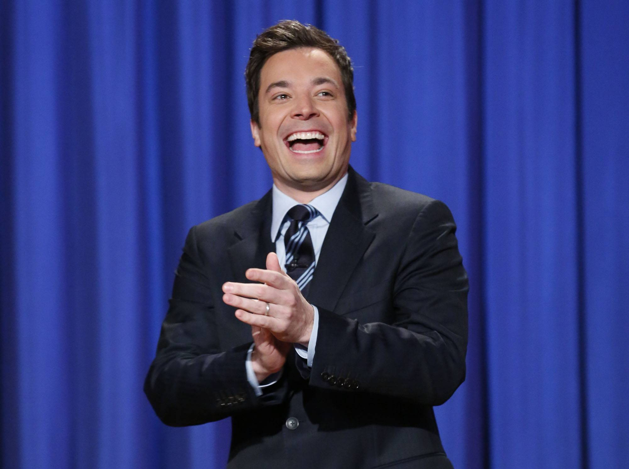 "This April 4, 2013 file photo released by NBC shows Jimmy Fallon, host of ""Late Night with Jimmy Fallon,"" in New York. Fallon will debut as host of his new show, ""The Tonight Show with Jimmy Fallon,"" on Feb. 17."