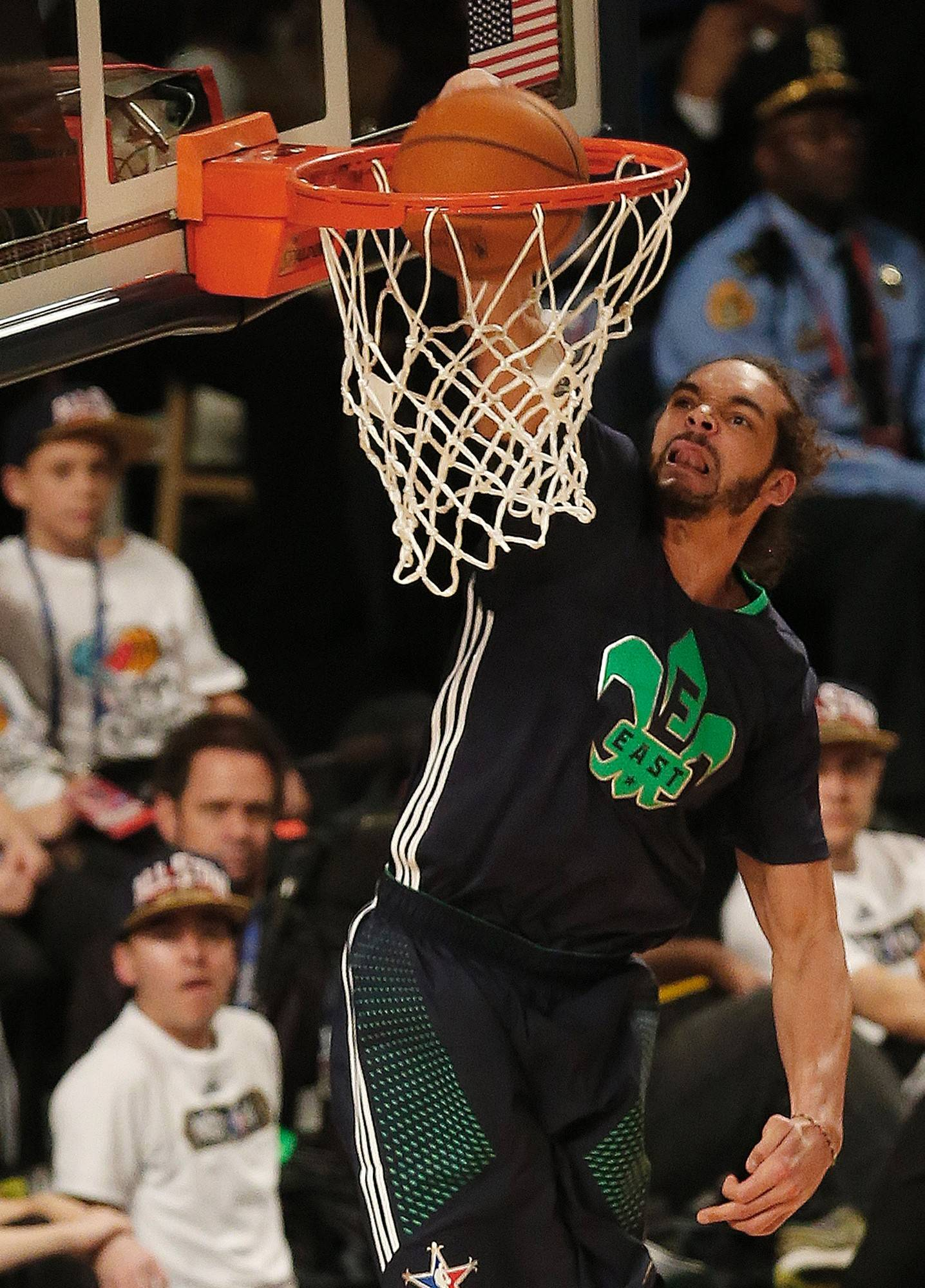 Joakim Noah of the Bulls throws down a dunk Sunday for the Eastern Conference in the NBA All Star Game.
