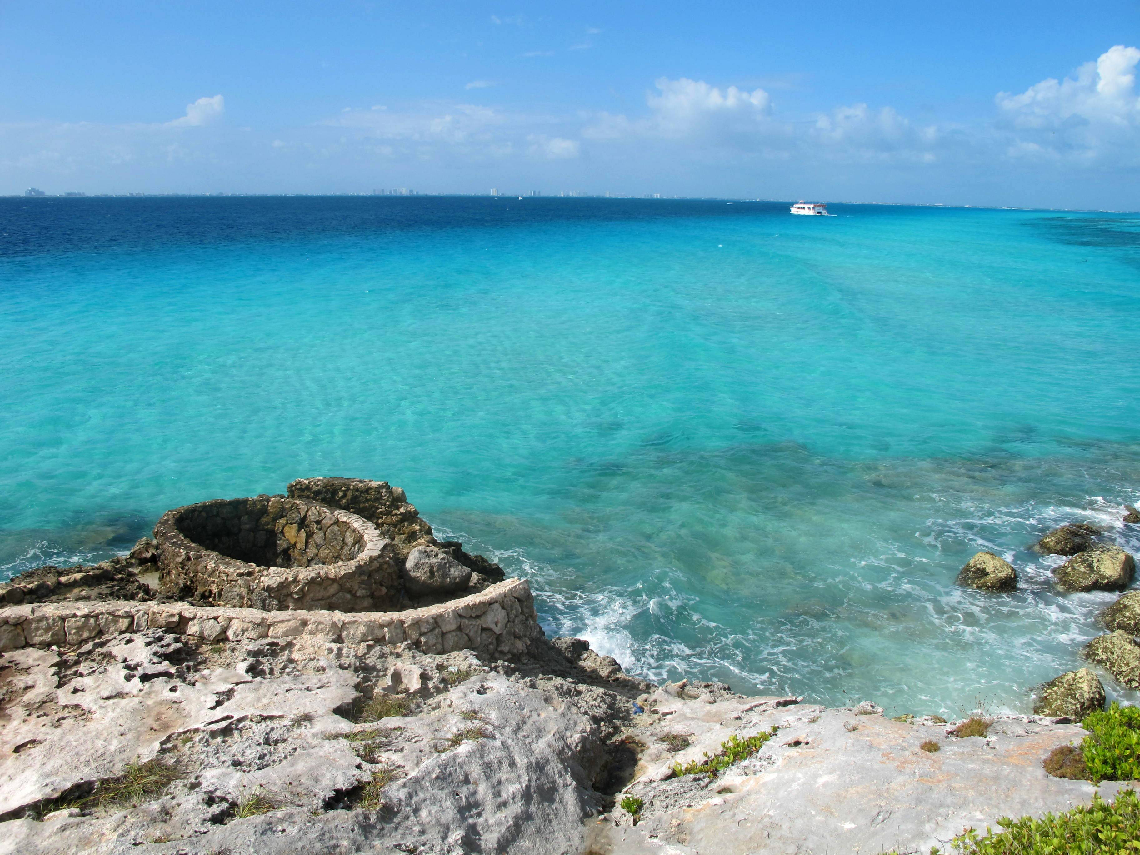 Cancun is just across the bay from the southernmost point of Isla Mujeres, also known as Punta Sur, where visitors can walk on developed trails amid dramatic cliffs to the very tip of the ocean.