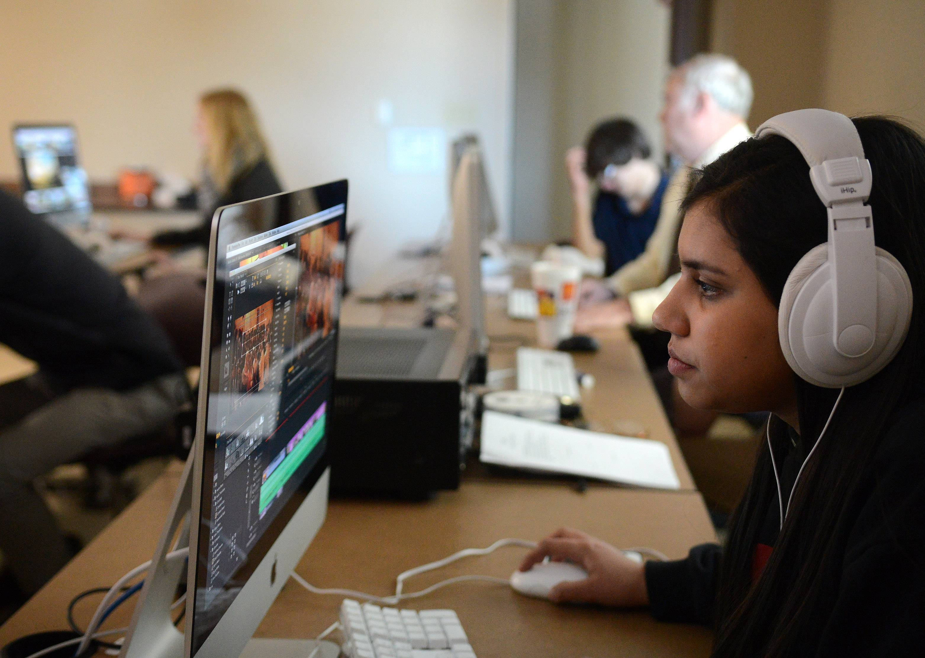 Elgin Academy junior Zainab Abbasi edits a project in her videography class. The school this month marks the 175th anniversary of its charter.