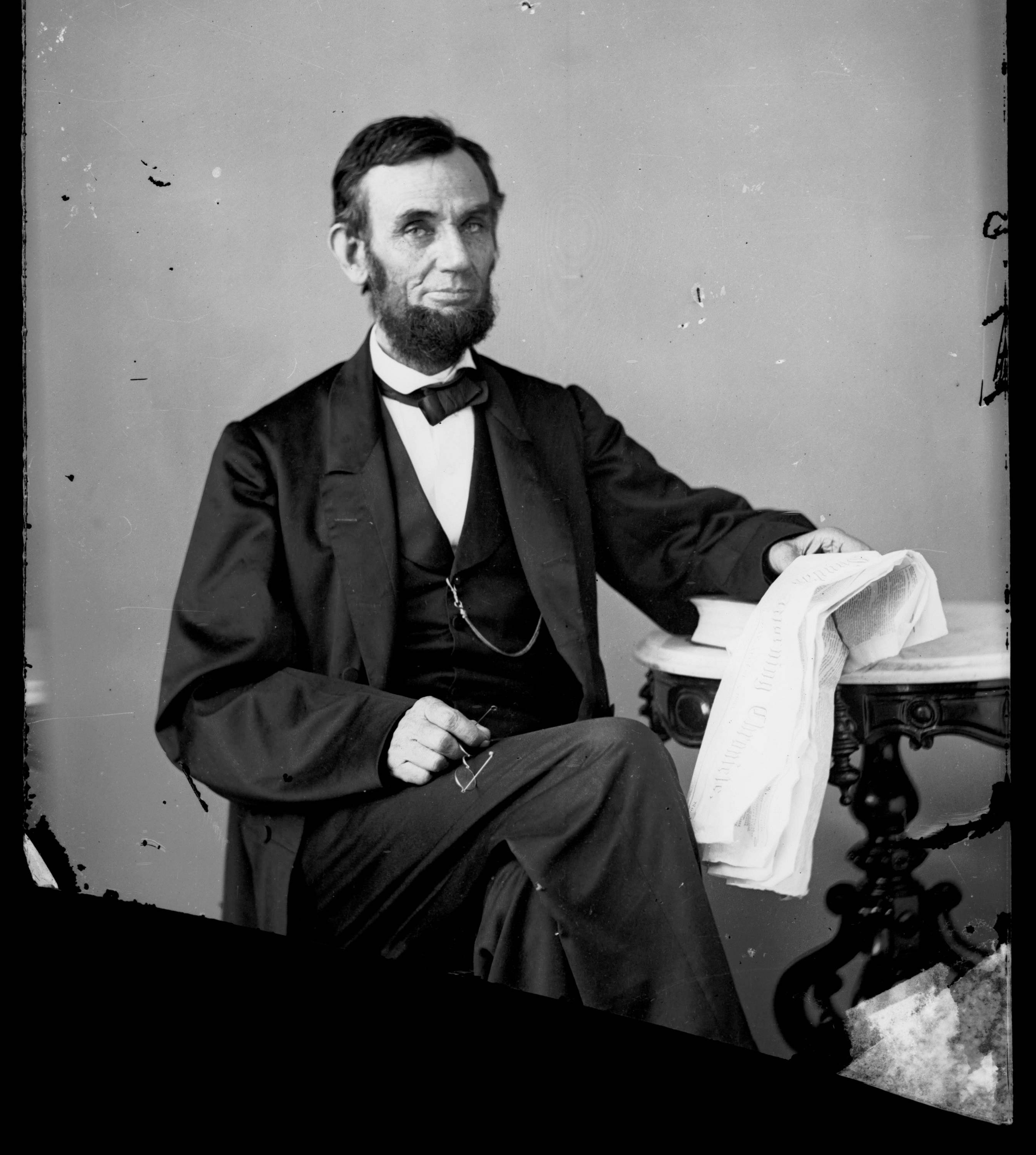 This image provided by Chicago's Abraham Lincoln Book Shop Inc. shows an image made from an Aug. 1863 glass plate negative of President Abraham Lincoln at a portrait studio in Washington, D.C. Lincoln is one of the presidents recognized in February under the umbrella of Presidents Day.