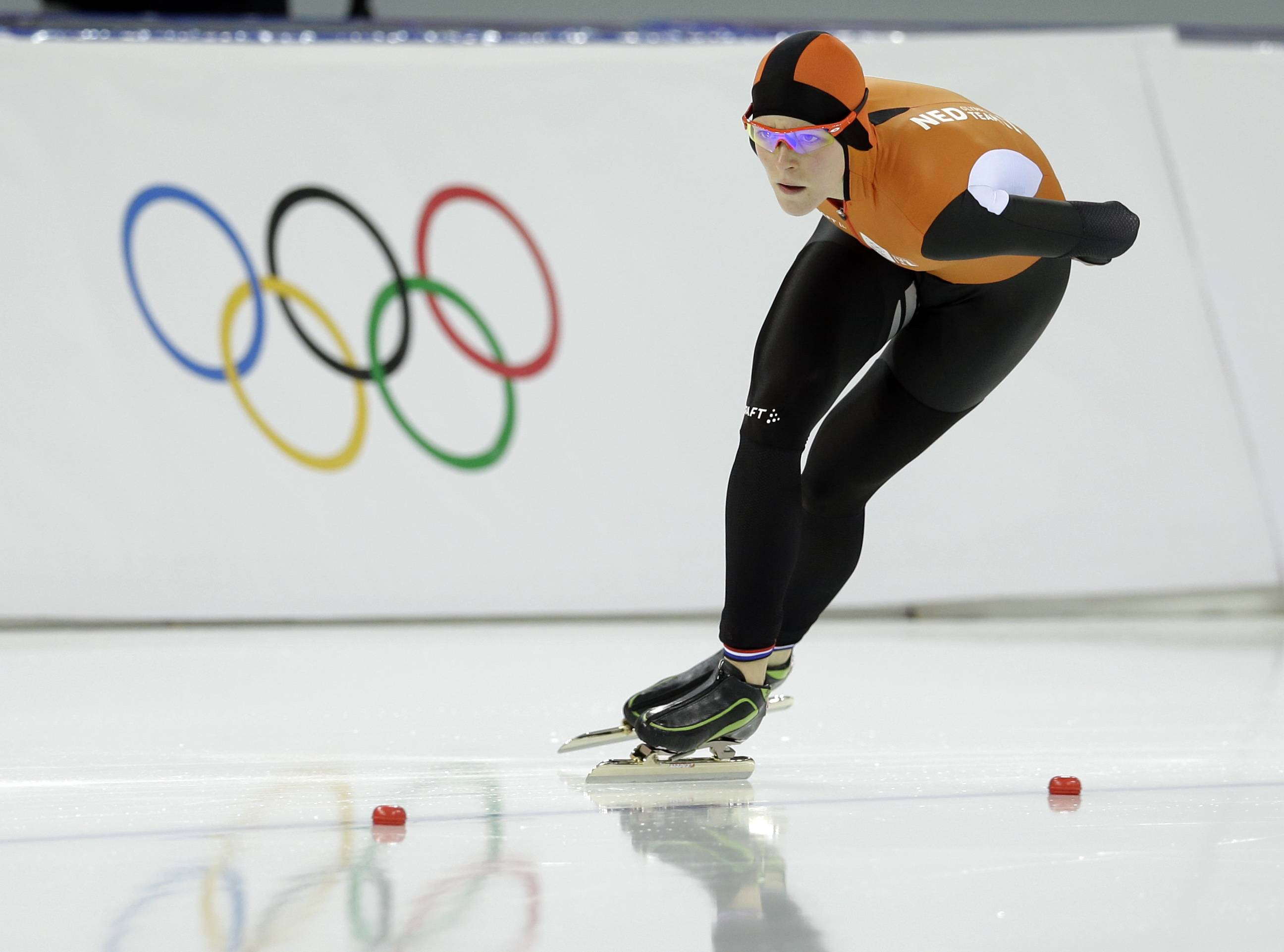 Gold medalist Jorien ter Mors of the Netherlands competes in the women's 1,500-meter race at the Adler Arena Skating Center during the 2014 Winter Olympics in Sochi, Russia, Sunday, Feb. 16, 2014.
