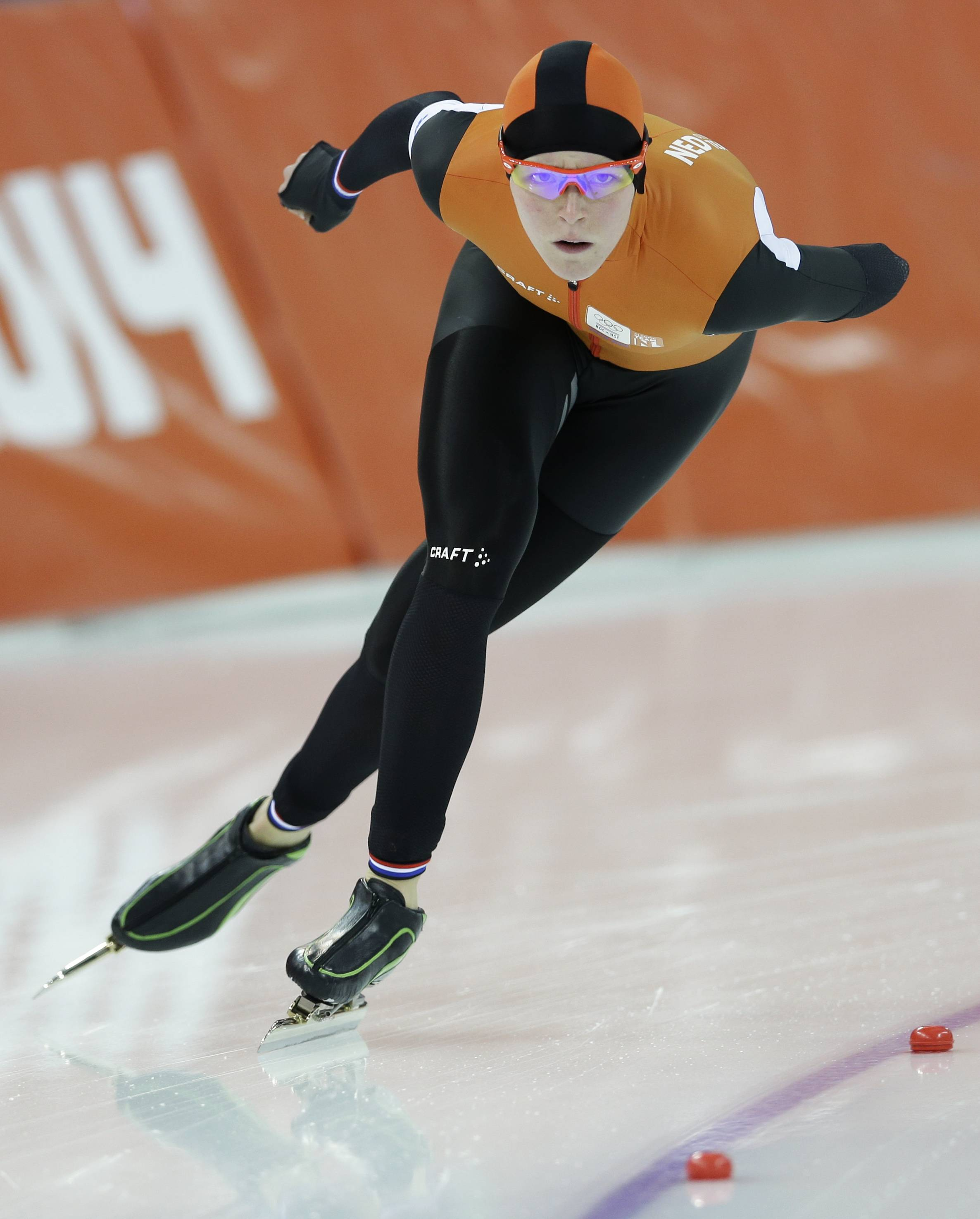 Jorien ter Mors of the Netherlands skates her way to set a new Olympic record in the women's 1,500-meter race at the Adler Arena Skating Center during the 2014 Winter Olympics in Sochi, Russia, Sunday, Feb. 16, 2014.