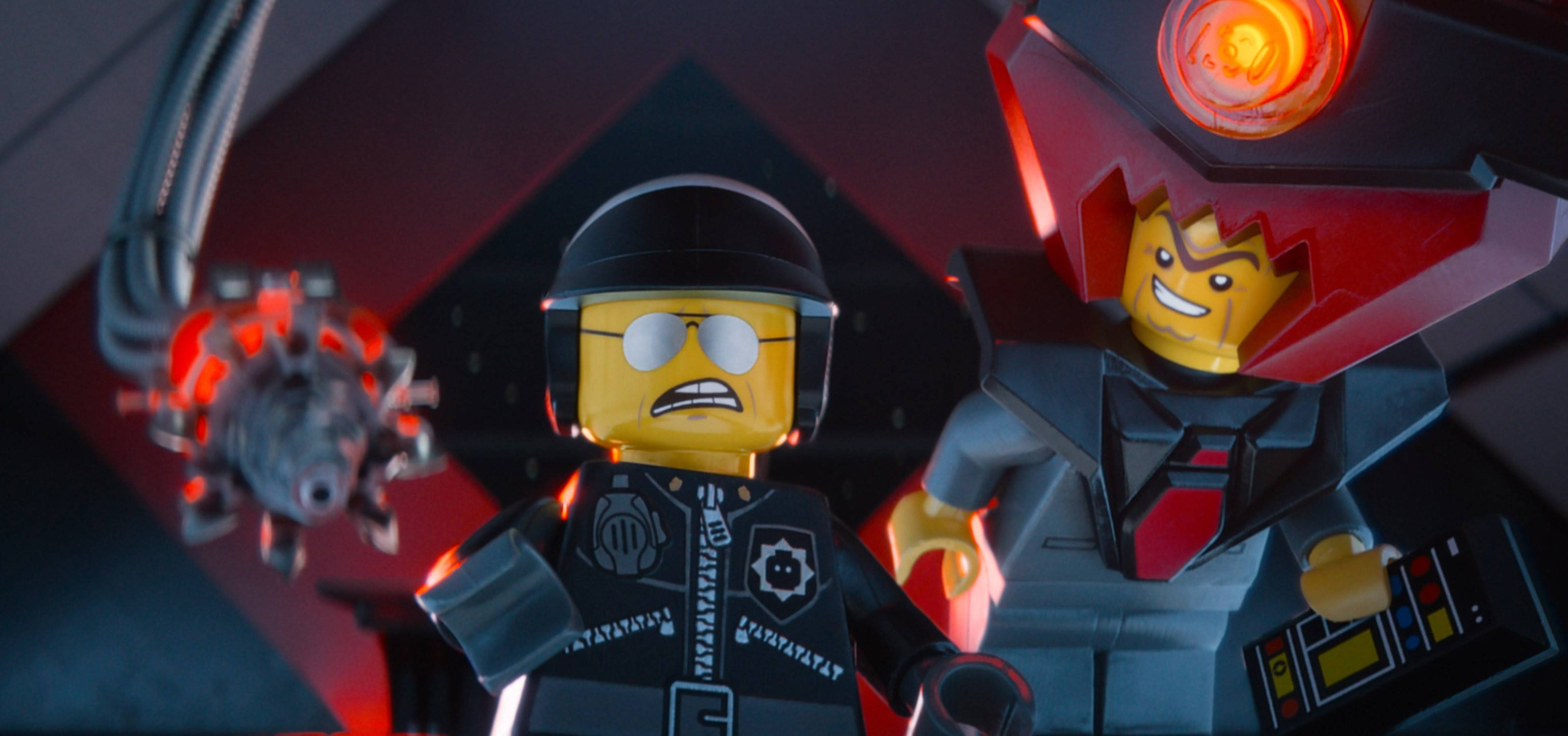 "Bad Cop/Good Cop (Liam Neeson), left, and President Business (Will Ferrell) prepare to take over the world in ""The Lego Movie."""