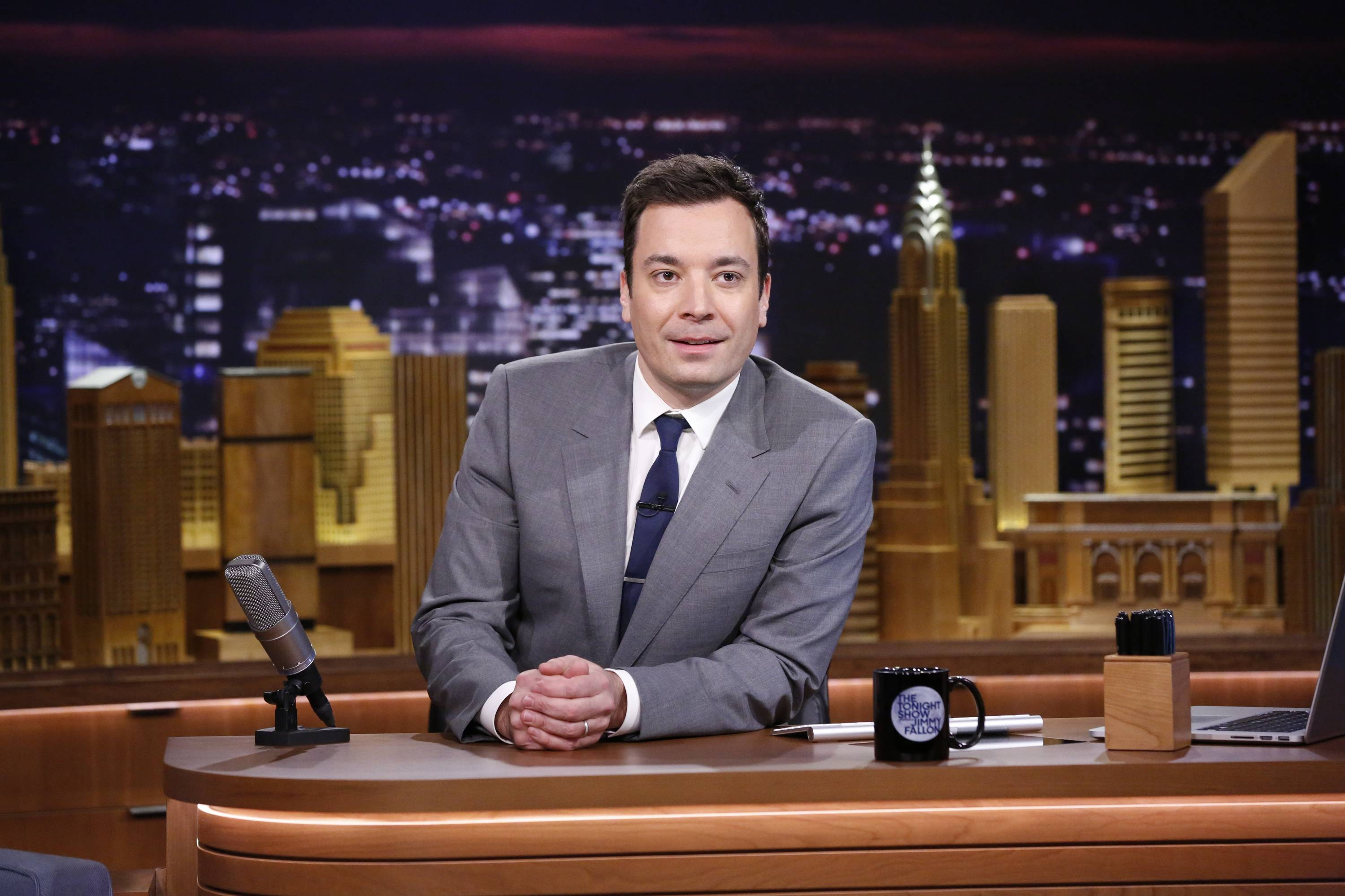 "Jimmy Fallon presented his desk and set for ""The Tonight Show"" in the same New York City studio where the show began decades before."