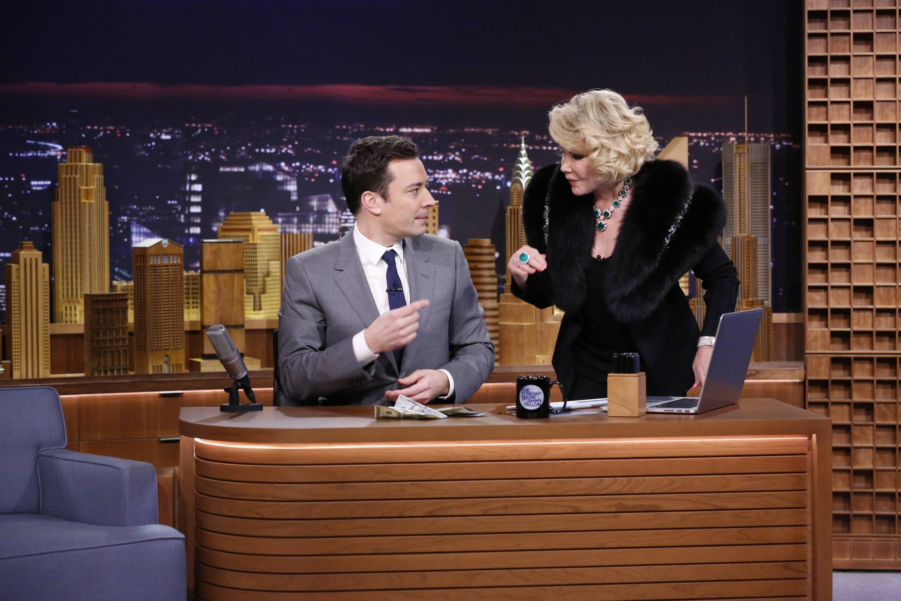"Joan Rivers welcomed Jimmy Fallon during his ""The Tonight Show"" debut."