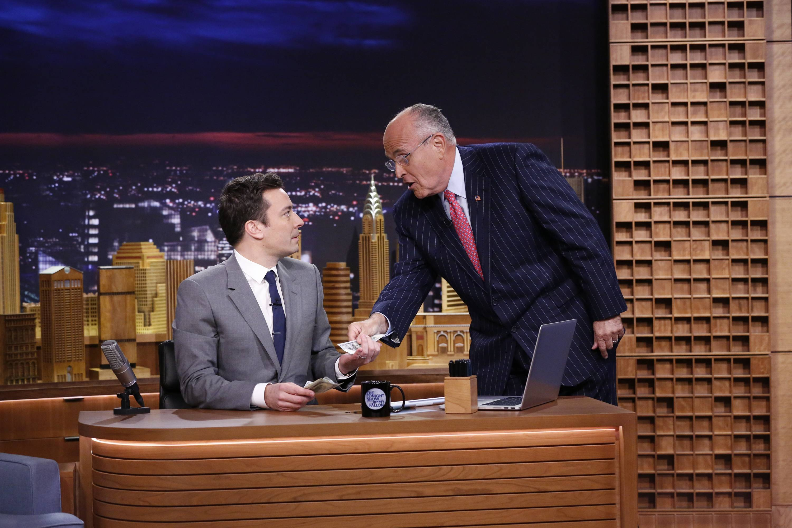 "Former New York City Mayor Rudy Giuliani, right, welcomed Jimmy Fallon, who brought the ""The Tonight Show"" back to the city where it all began decades ago."
