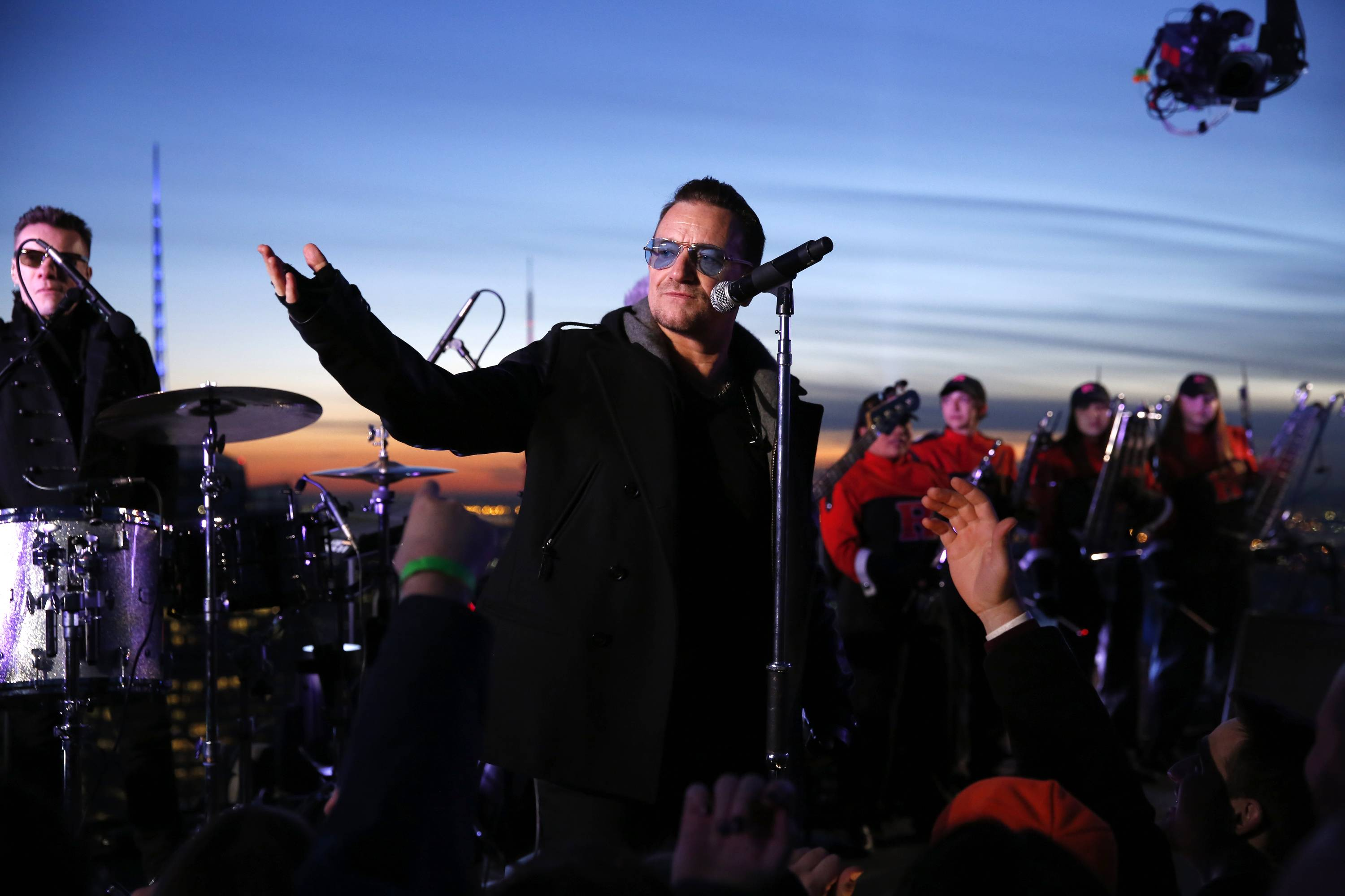 "U2 performed ""Invisible"" atop the G.E. Building during ""The Tonight Show"" on Monday."