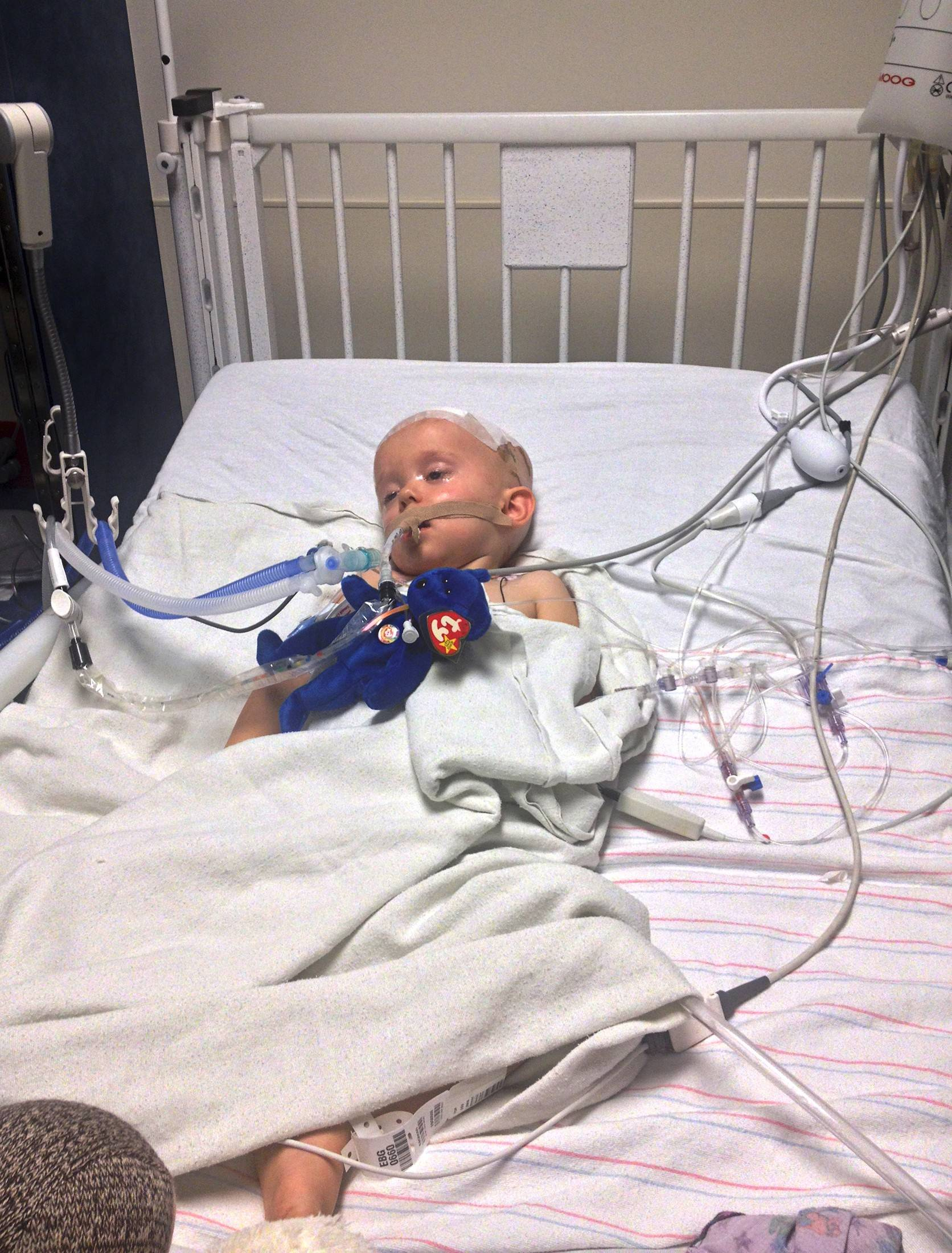 Noah Craten of Glendale, Ariz., is shown after surgery at Cardon Children's Medical Center in Mesa, Ariz., in October. An infection in his bloodstream had caused abscesses on his brain. Tests by state health officials showed he had been infected with a strain of Salmonella Heidelberg.