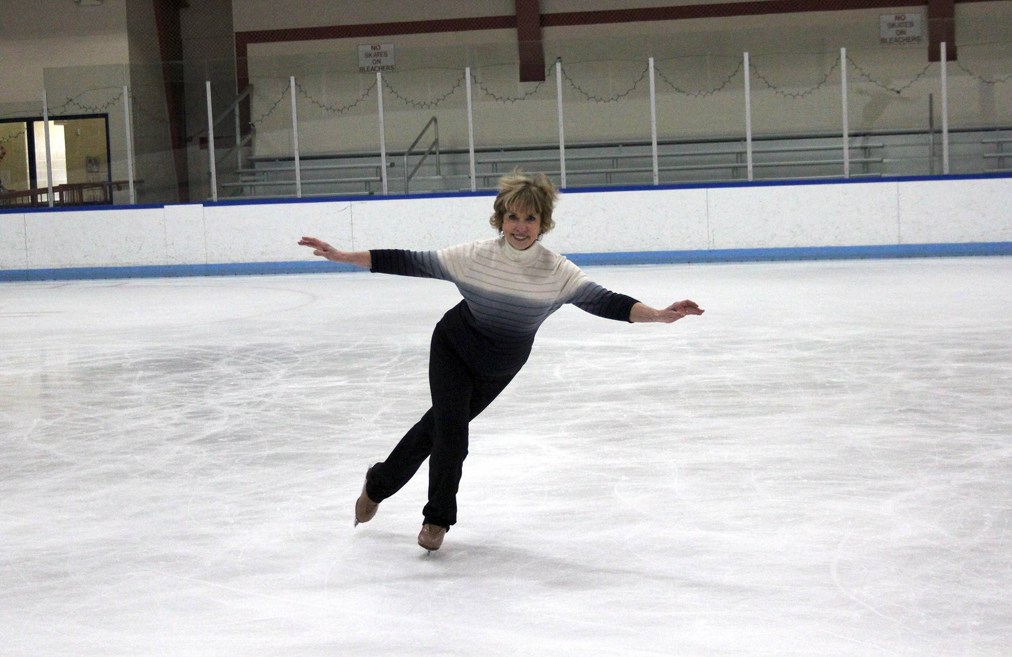 Jacquie Tennant of Potomac, Md., 74, once a Holiday on Ice performer, practices at the Wheaton Regional Park rink in Wheaton, Md. She says the exercise helps keep her muscles strong.