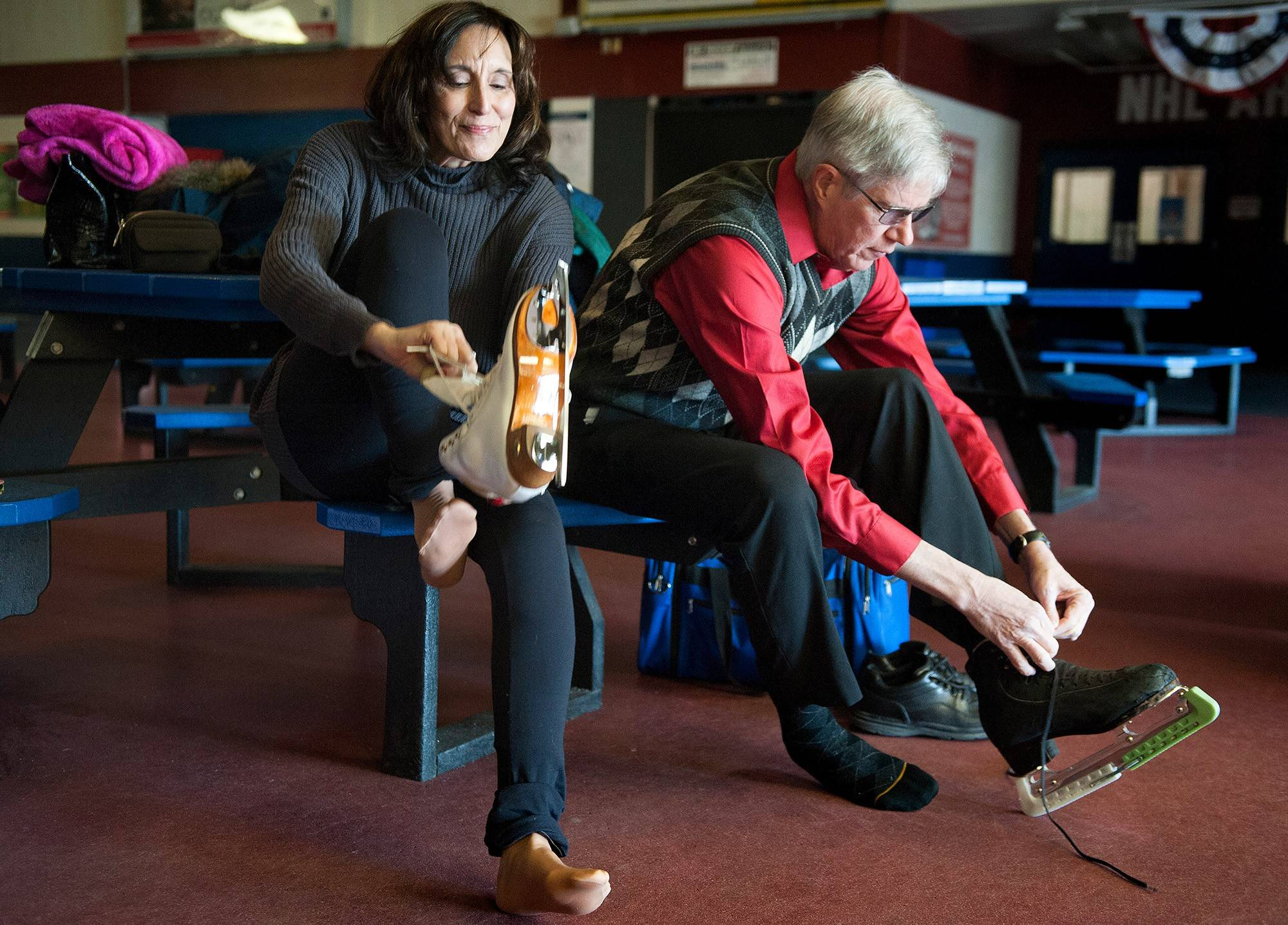 Jeanne Erdmann. 60, laces up beside Bill Coalson at a skating center in Chesterfield, Mo.; she skates three to four times a week and trains off the ice with weights, Pilates and dancing _ anything to improve strength and flexibility.
