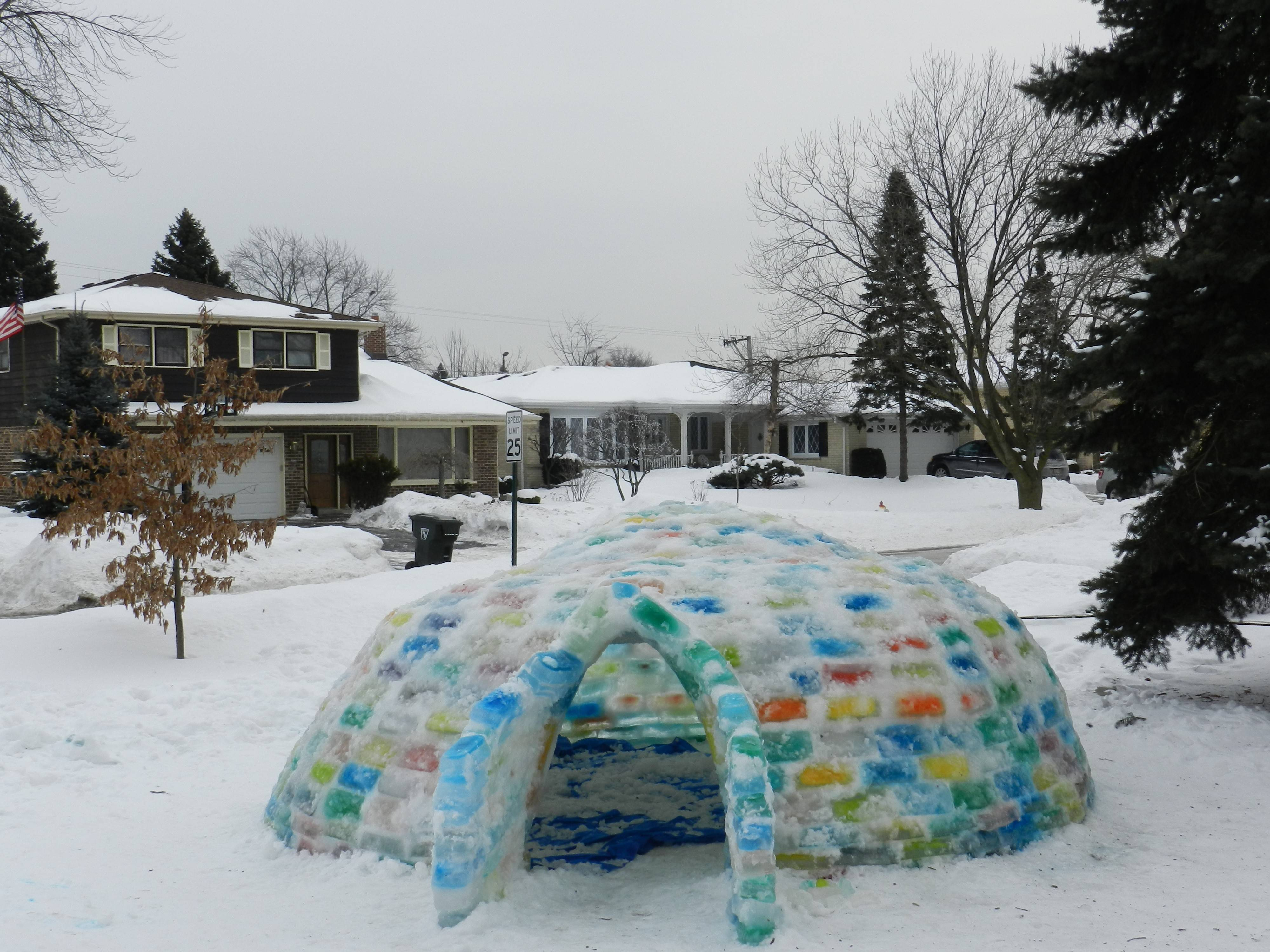 The completed igloo brought a colorful presence to the 1100 block of Thayer Street in Mount Prospect.