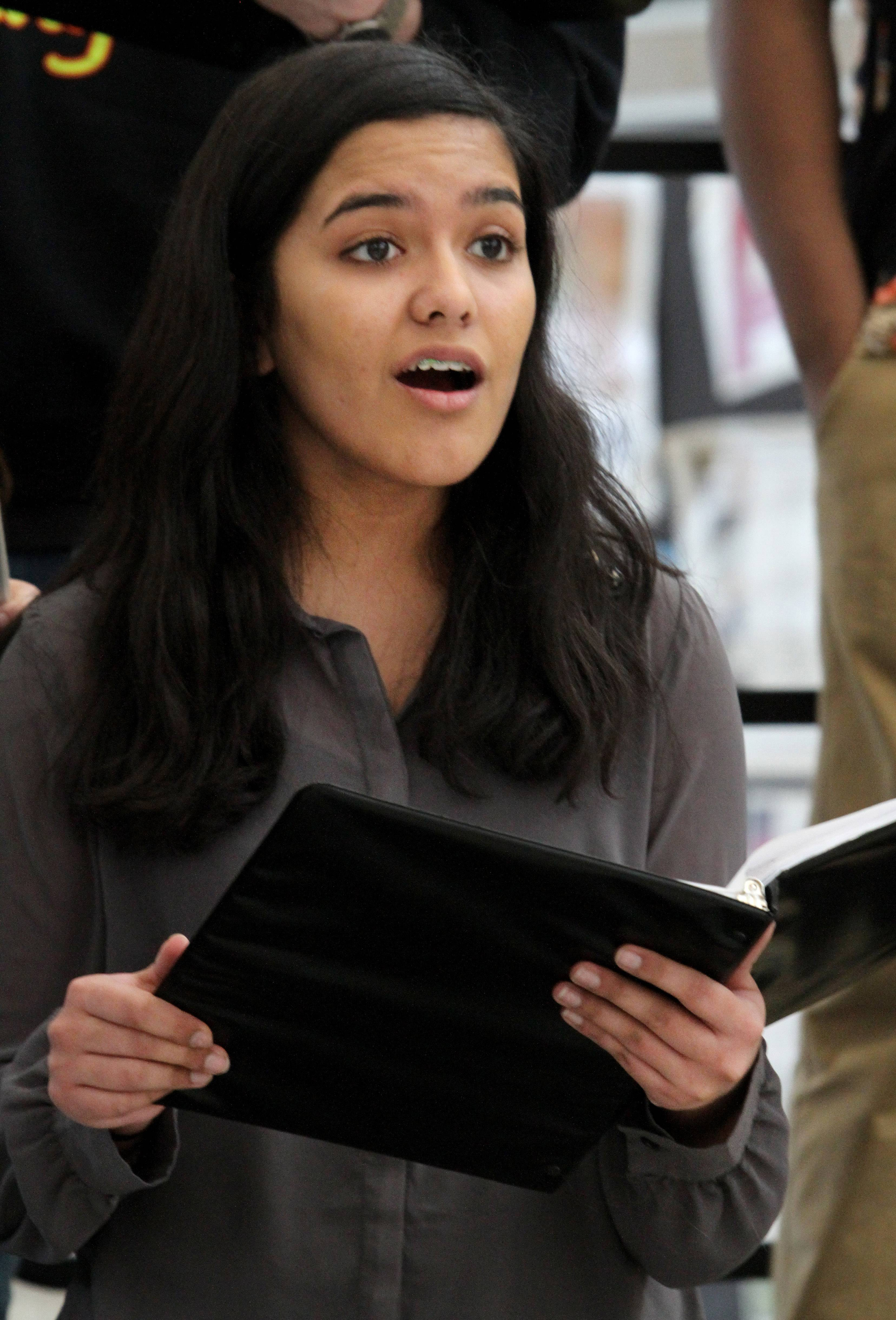 Sushmitha Suresh, a sophomore at Metea Valley High School in Aurora, practices her singing not long after her voice wa