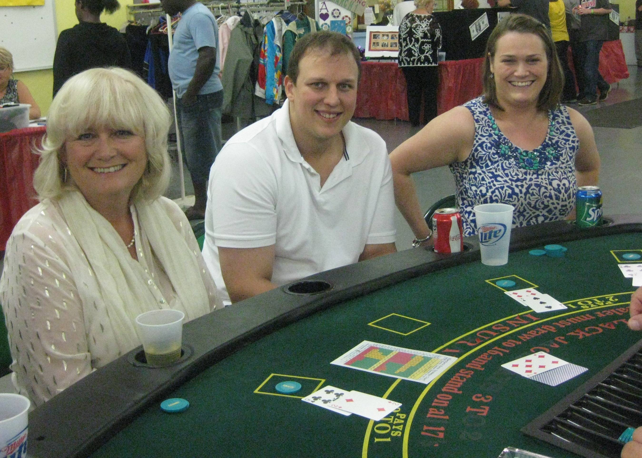 Aileen Brewis, left, joined daughter, Catherine and her husband John Mowat of Rolling Meadows for several hands of blackjack at Clearbrook's Fall Casino Night last October.