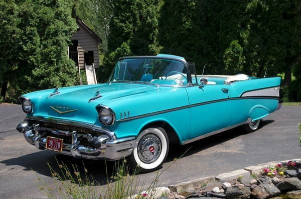 turquoise 57 chevy is a clear cut classic