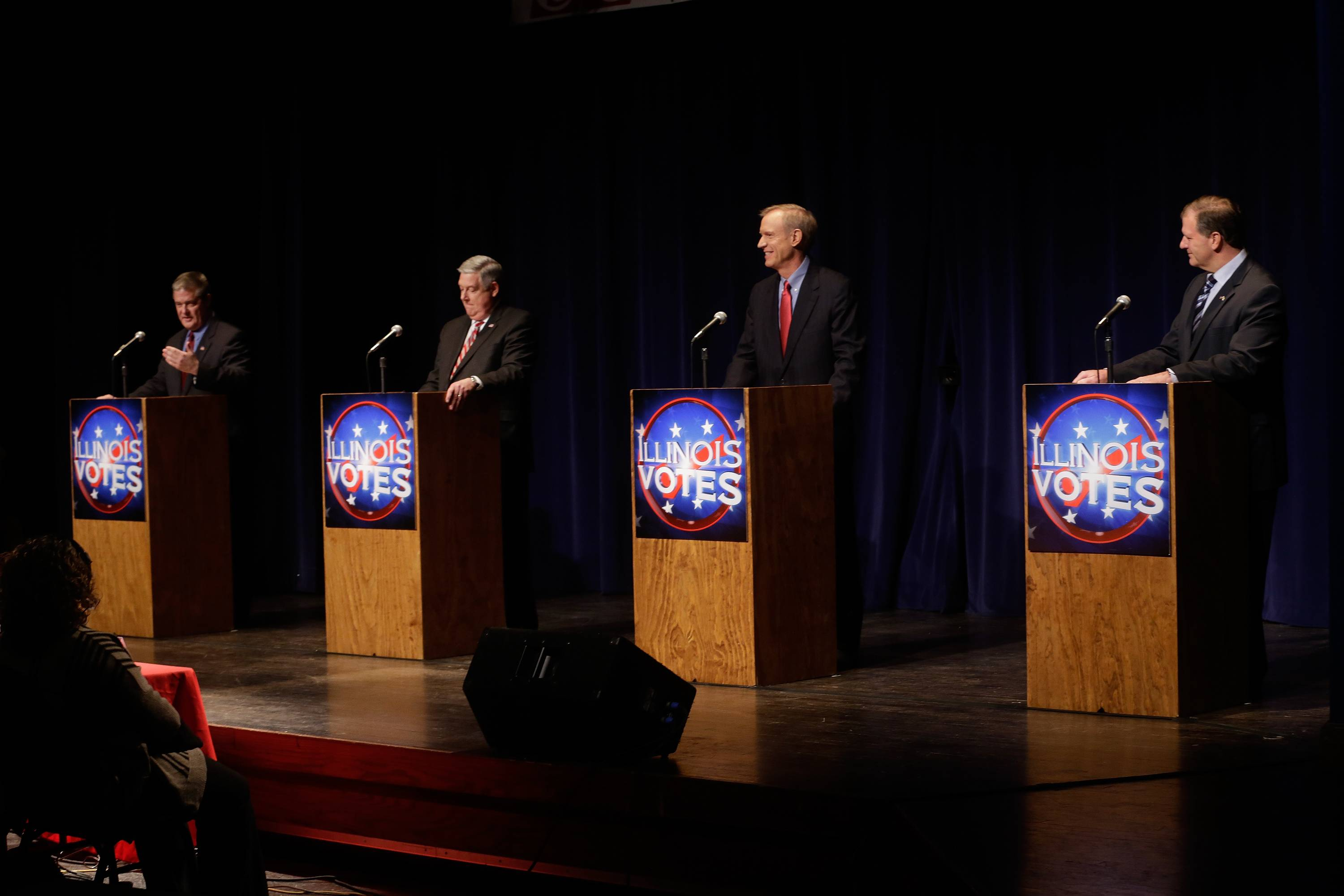 State Treasurer Dan Rutherford, from left, state Sen. Kirk Dillard, businessman Bruce Rauner and state Sen. Bill Brady participate in a Republican gubernatorial debate Tuesday in Springfield. The primary is March 18.