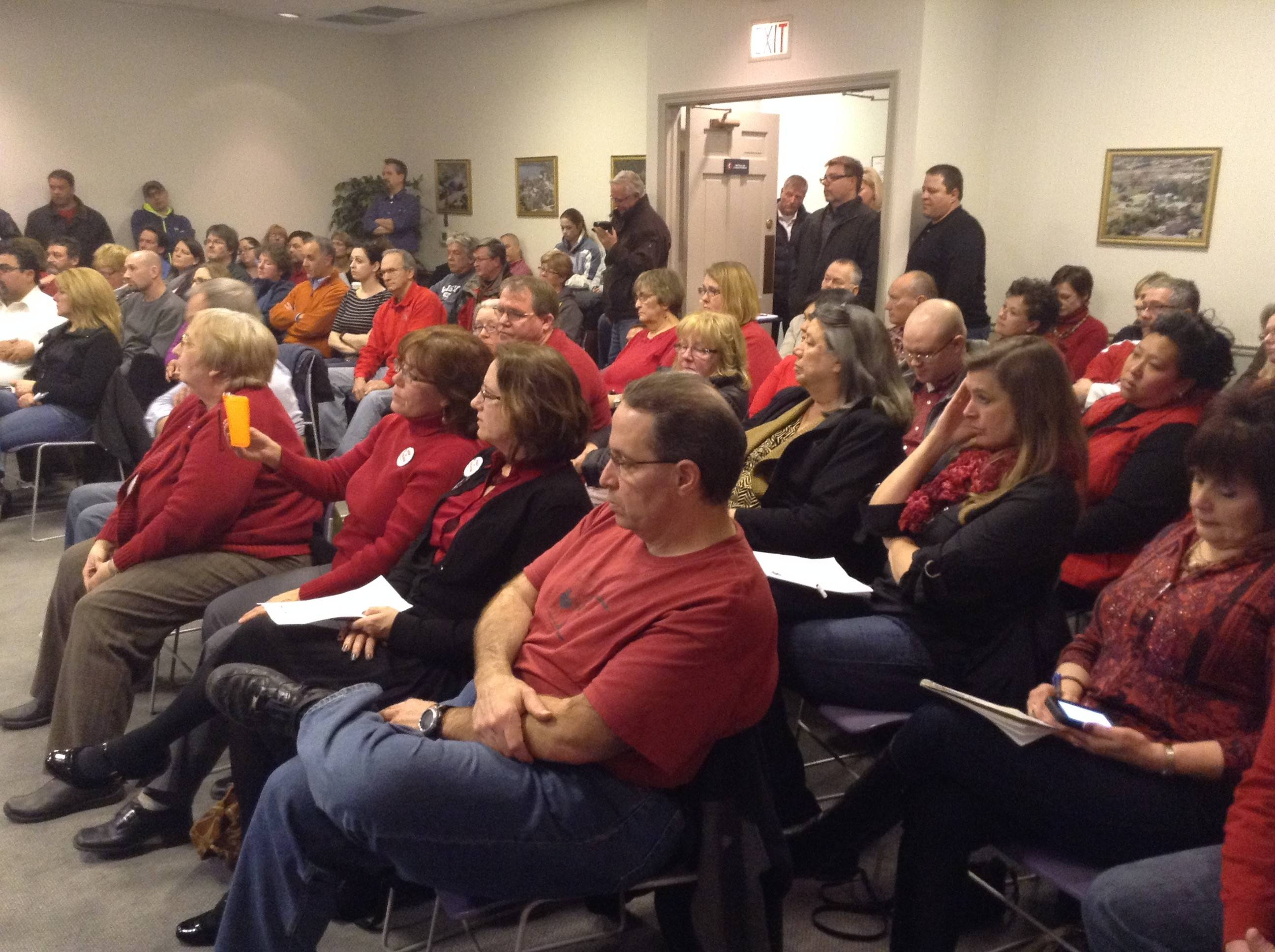 Wauconda residents packed village hall Tuesday night to oppose a plan to outsource 911 dispatching.