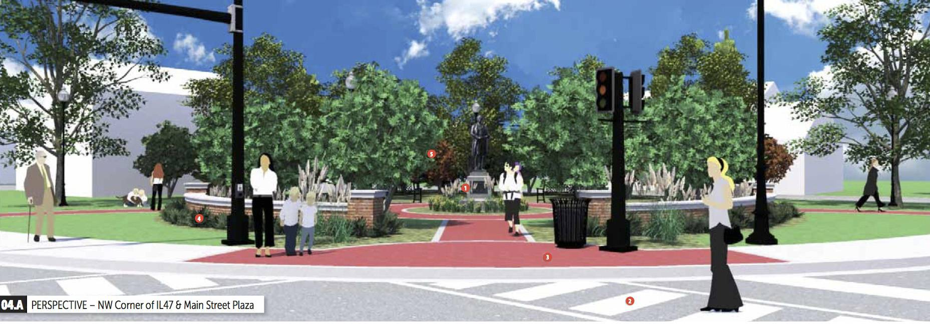 Huntley's downtown revitalization plans call for widening sidewalks along Main Street, adding carriage walks with raised planters, benches, bike racks, trash receptacles and trees along the parkway, as well as making downtown more pedestrian friendly.