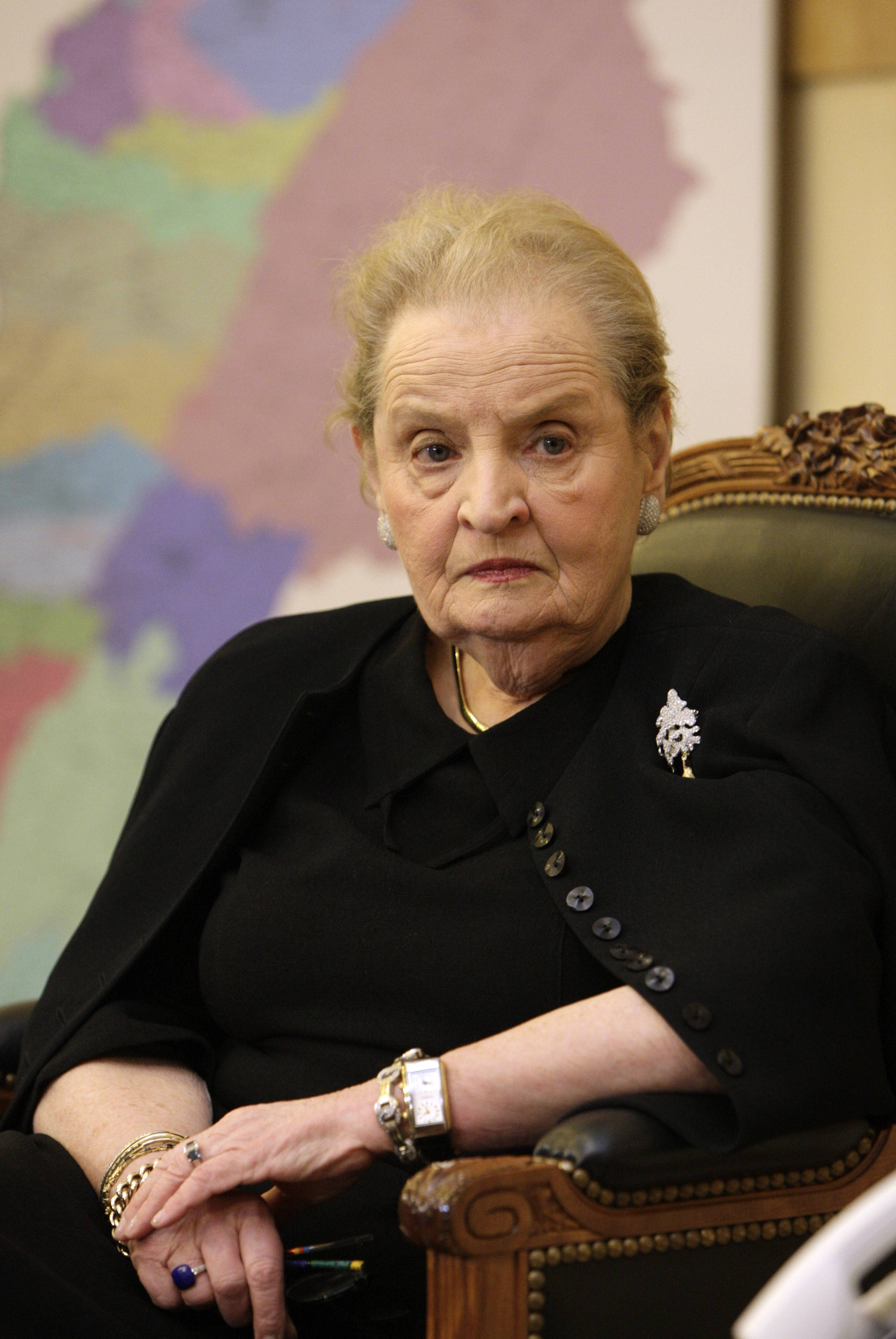 Former US Secretary of State Madeleine Albright was warm and engaging as she met with fans to talk about her book on political pins, Becky Anderson said.