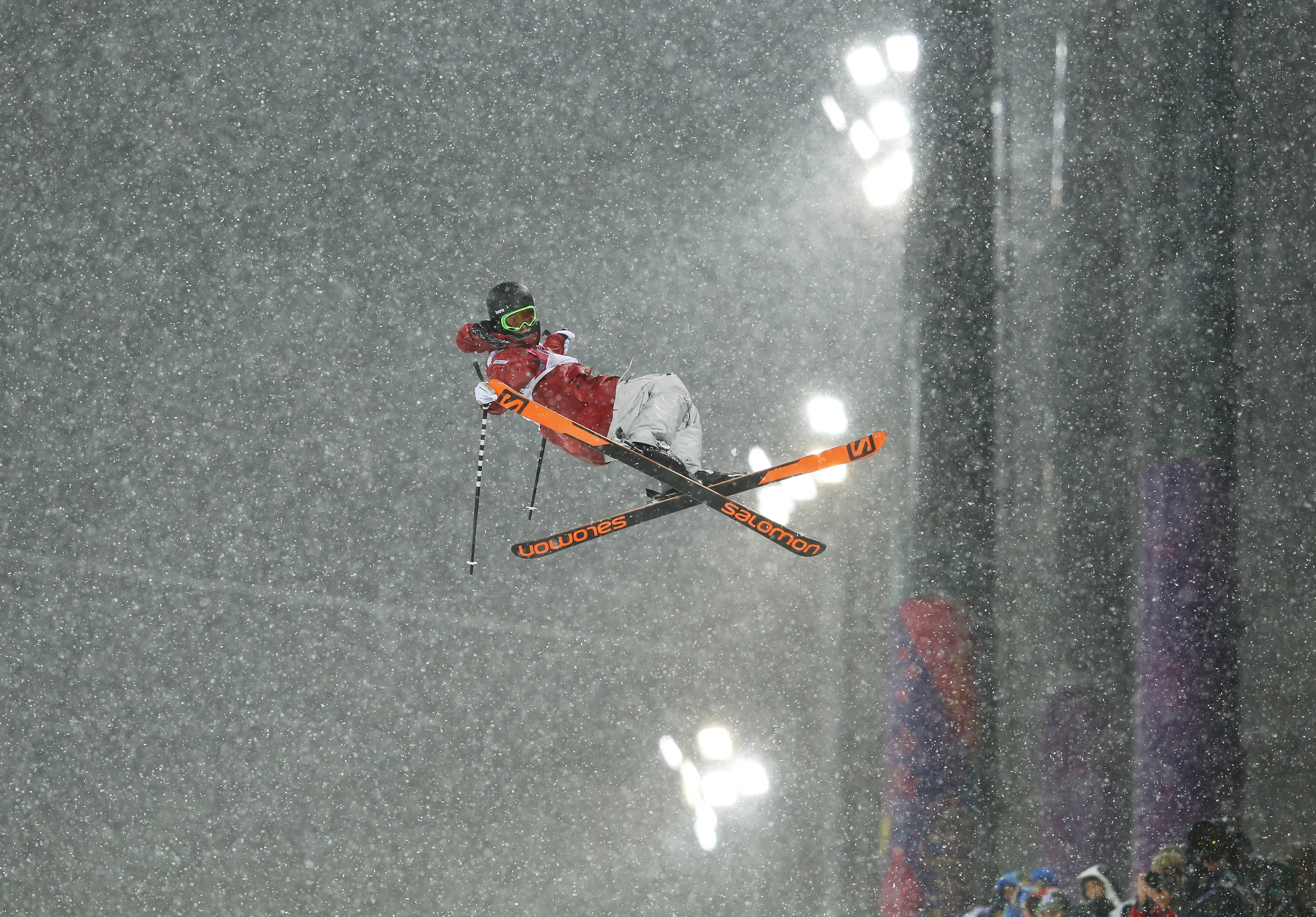 Canada's Noah Bowman gets air during the men's ski halfpipe final.
