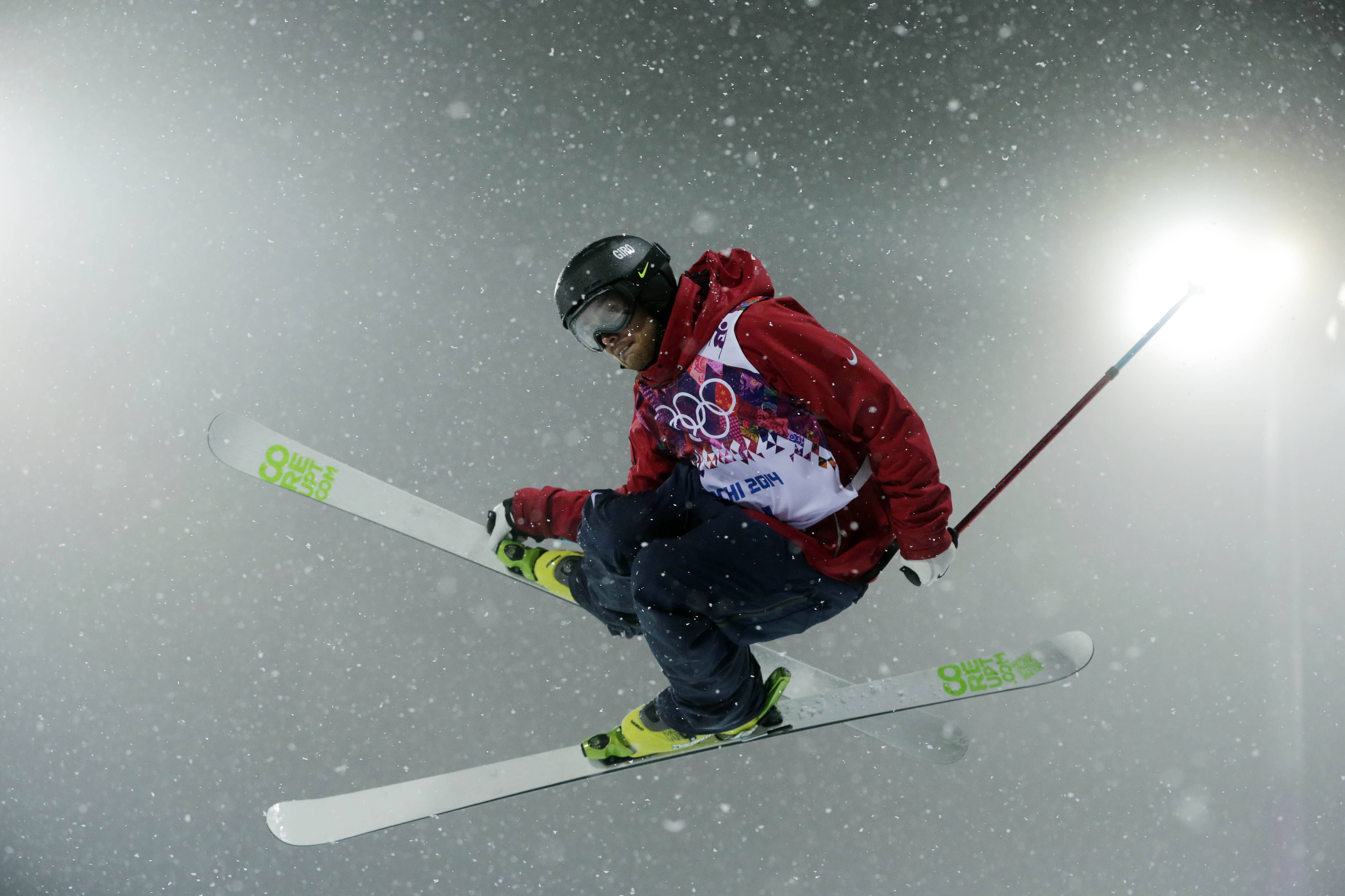 Bronze medalist Kevin Rolland of France gets air during the men's ski halfpipe final.