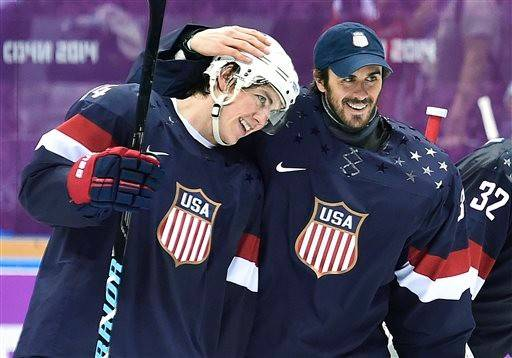 In the days since the United States men's hockey team win over Russia, forward T.J. Oshie, left, has become the hottest U.S. import here since the iPad.