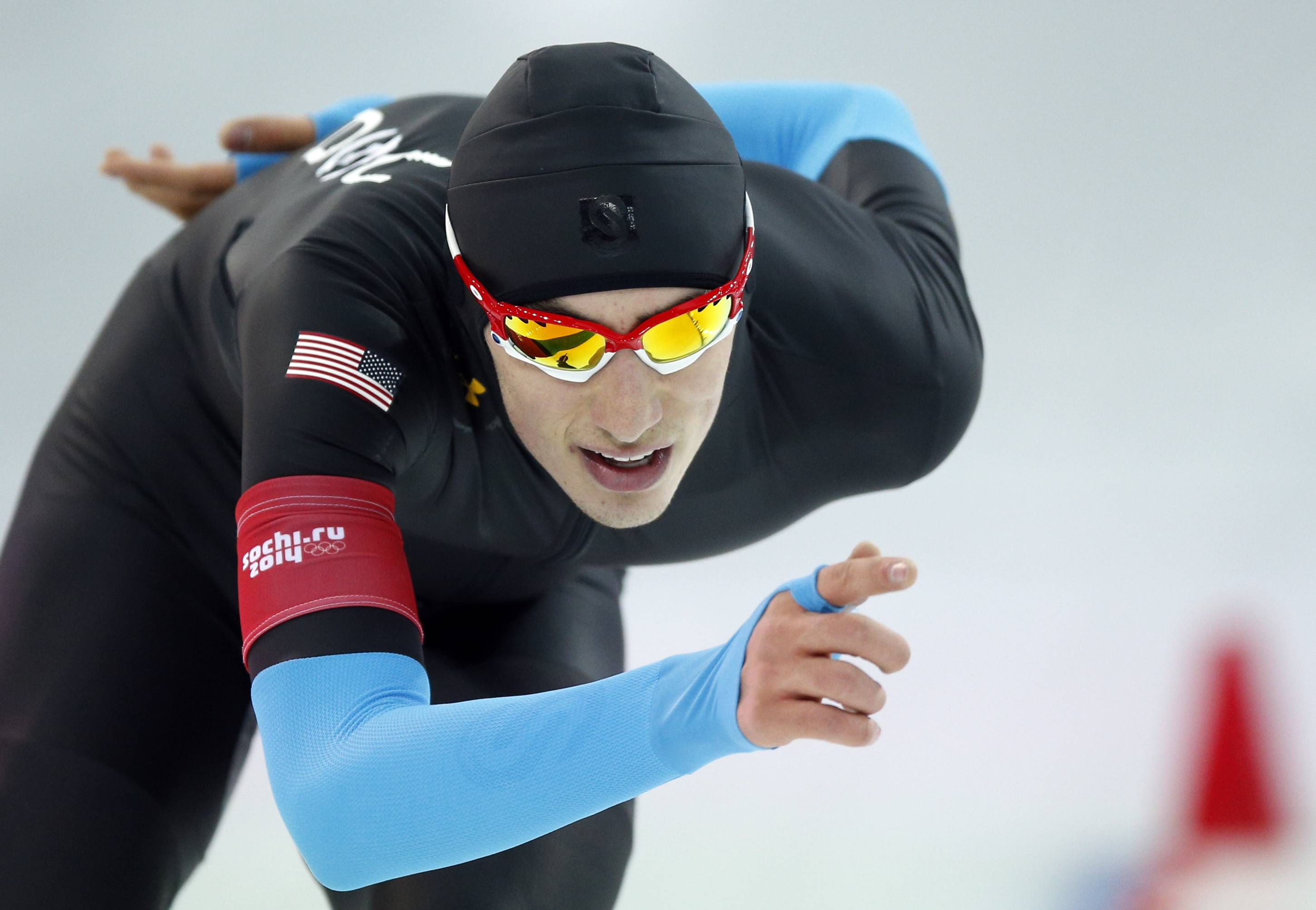 Oak Park's Emery Lehman of the U.S. competes in the men's 10,000-meter speedskating race at the Adler Arena Skating Center during the 2014 Winter Olympics in Sochi, Russia, Tuesday, Feb. 18, 2014.