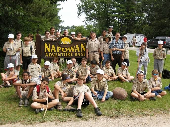 Scouts from Troop 140 take a break at Camp Napowan in Wild Rose, Wis. Troop 140 provides its members with opportunities to travel and experience the outdoors.