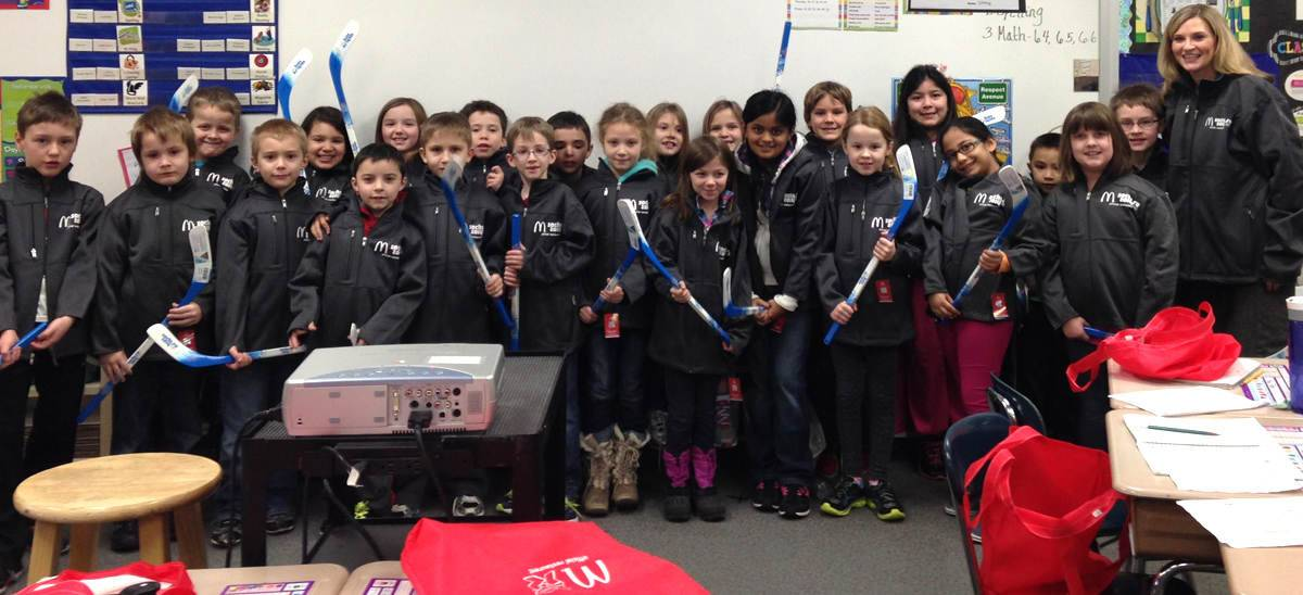 Students in a second-grade class at Chesak Elementary School in Lake in the Hills had a nice surprise waiting for them Wednesday. Besides an audio message via Sochi from Blackhawks forward Patrick Kane, each student received a hockey stick autographed by Kane, a McDonald's Sochi Olympics jacket, a Happy Meal Sochi mascot, and a gift card.