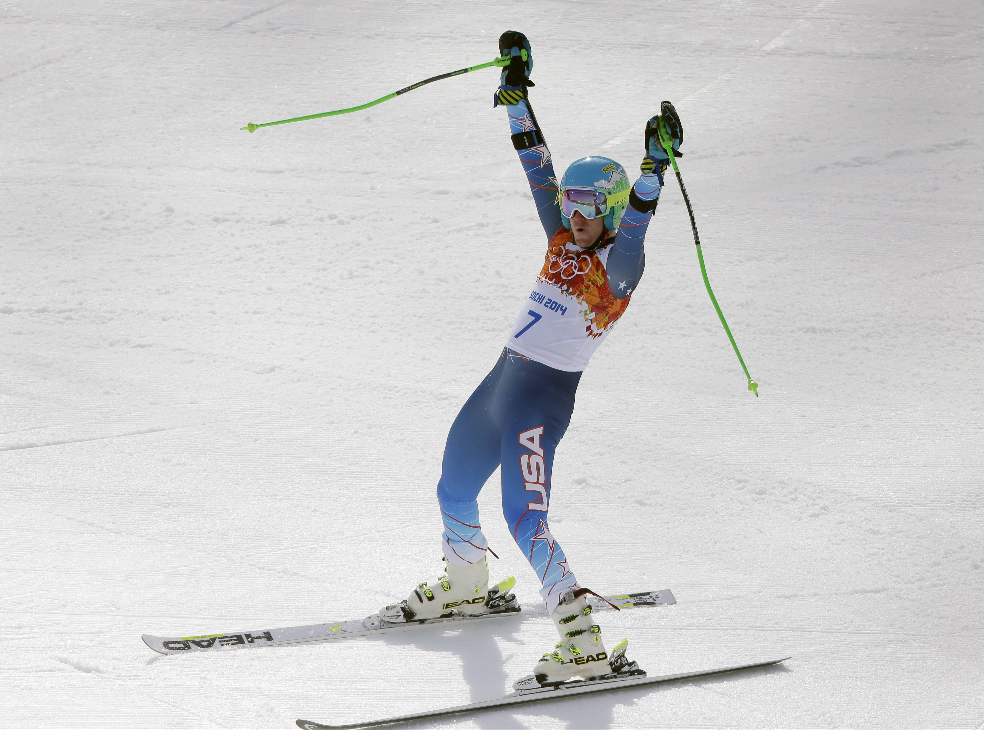 United States skier Ted Ligety celebrates Wednesday after winning the gold medal in the men's giant slalom at the Sochi 2014 Winter Olympics in Krasnaya Polyana, Russia.
